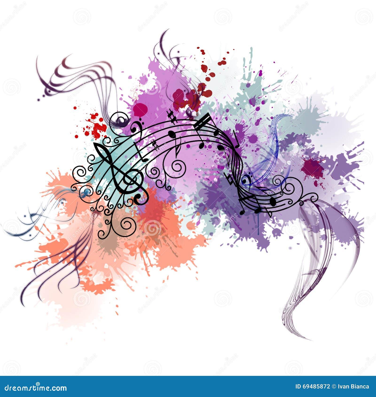 Muzyczny tło z kolorem