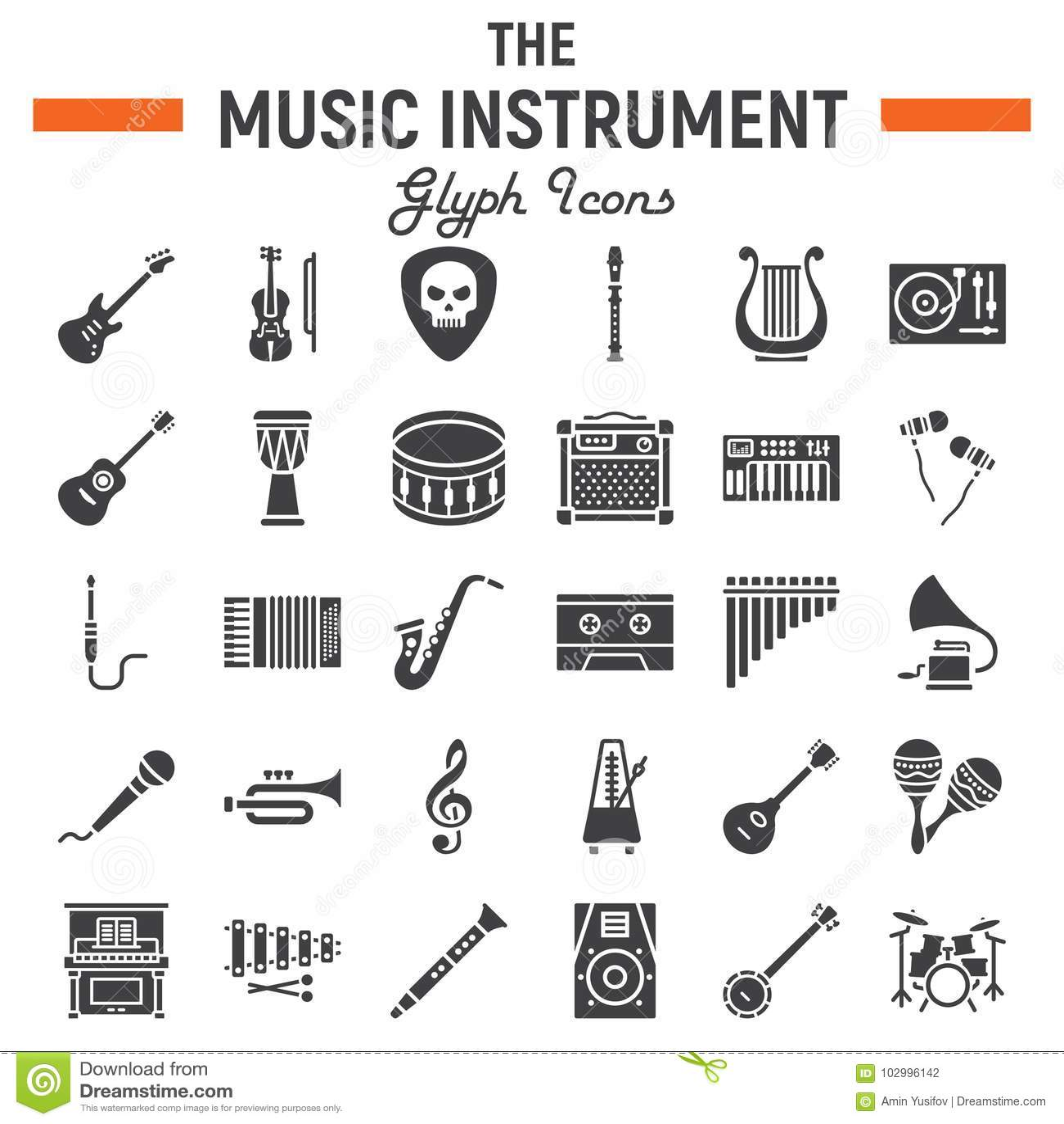 Muzycznych instrumentów glifu ikony set, audio symbole