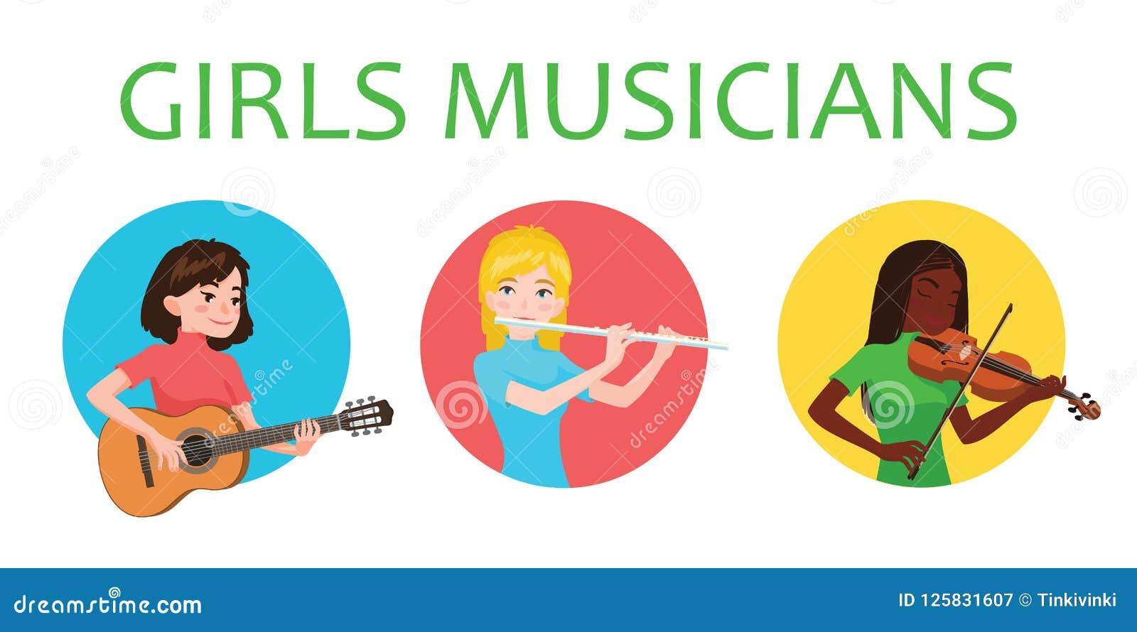 Muzyk dziewczyny inspirują bawić się różnych instrumenty muzycznych Skrzypaczka, flecista, gitarzysta Wektorowa ilustracja wewnąt