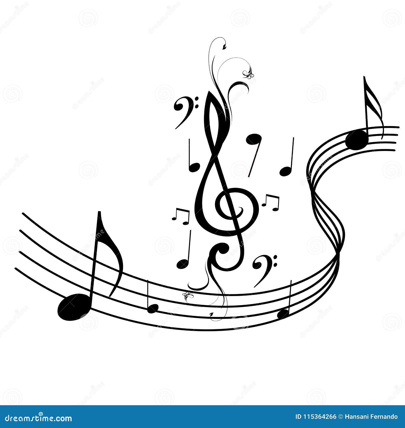 Muzyk notatki i fala