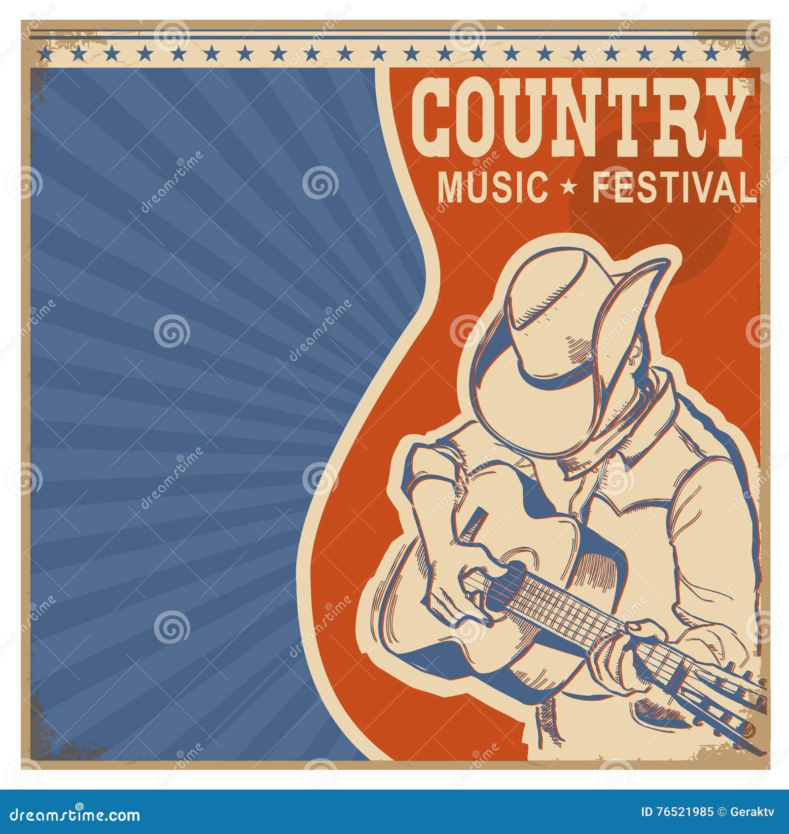 Muzyka country tła retro plakat z mężczyzna w kowbojskim kapeluszu