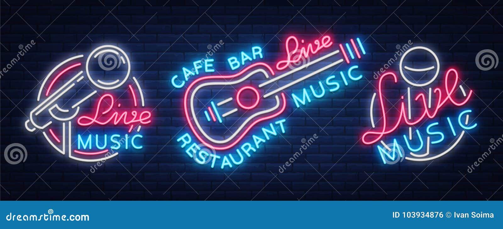 Muzyka na żywo ustawiający neonowych znaków wektorowi logowie, plakat, emblemat dla muzyka na żywo festiwali/lów, muzyczni bary,