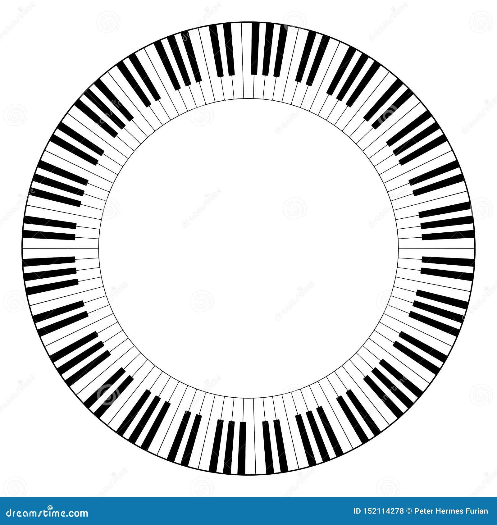 Muzykalna klawiaturowa okrąg rama