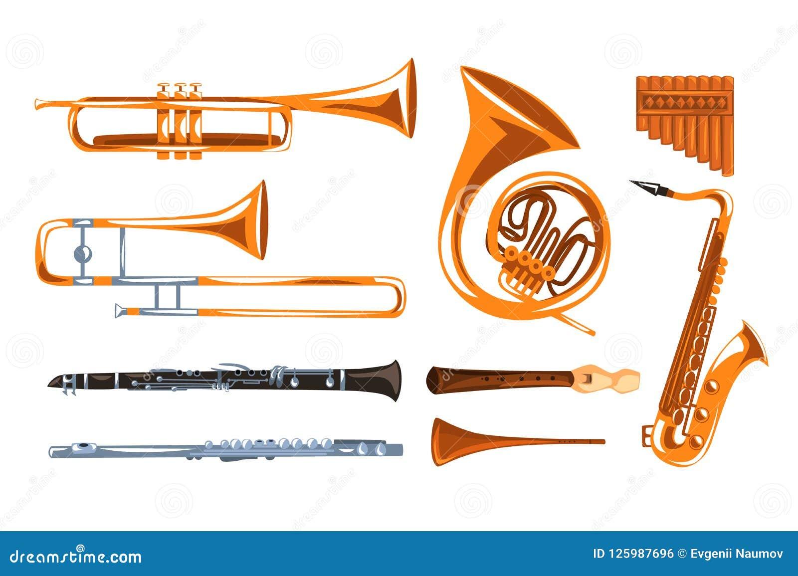 Muzykalni wiatrowi instrumenty ustawiający, saksofon, klarnet, trąbka, puzon, tuba, niecek fletowe wektorowe ilustracje ja na bie