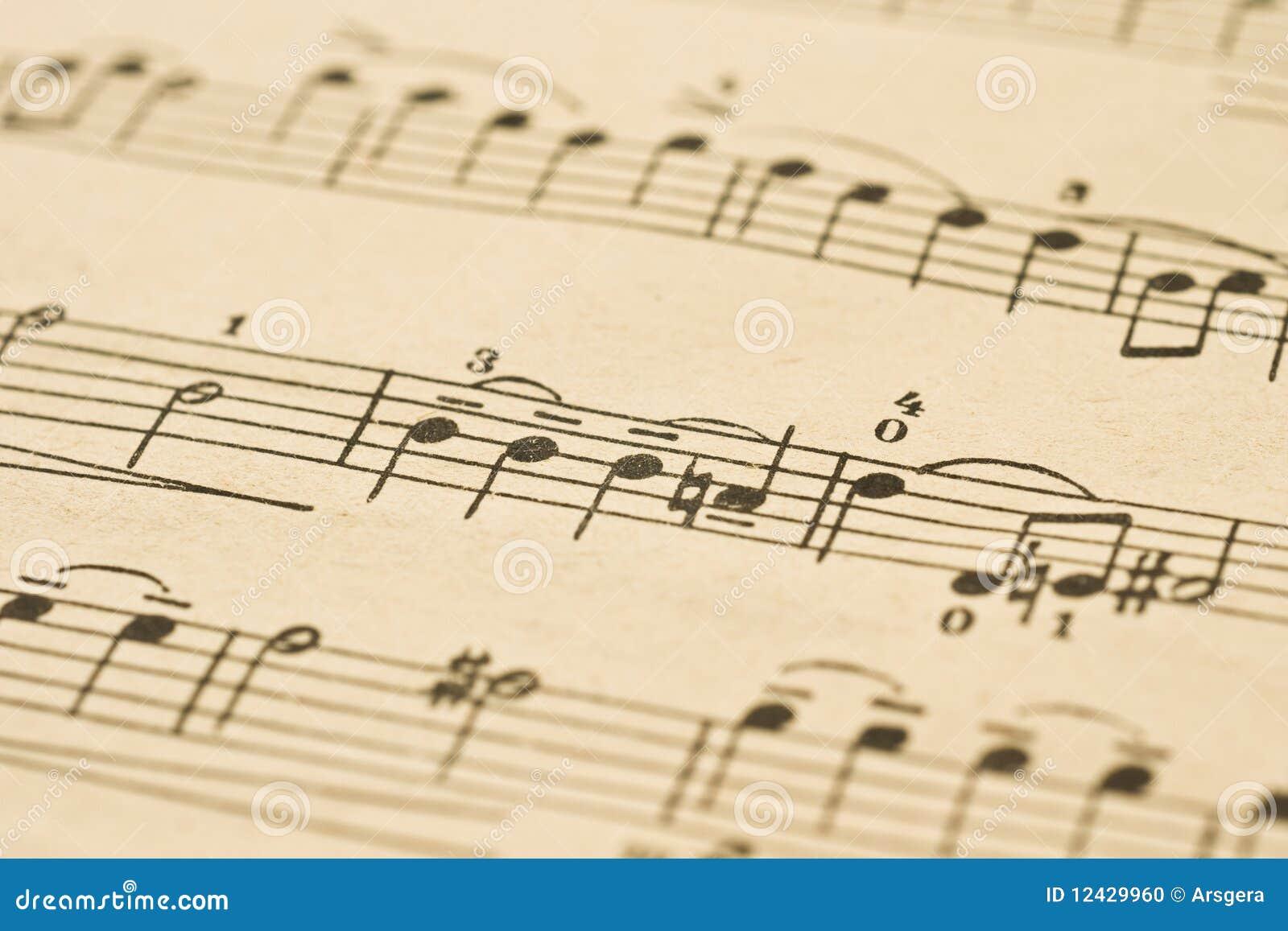 Muzyki klasycznej notatek prześcieradło