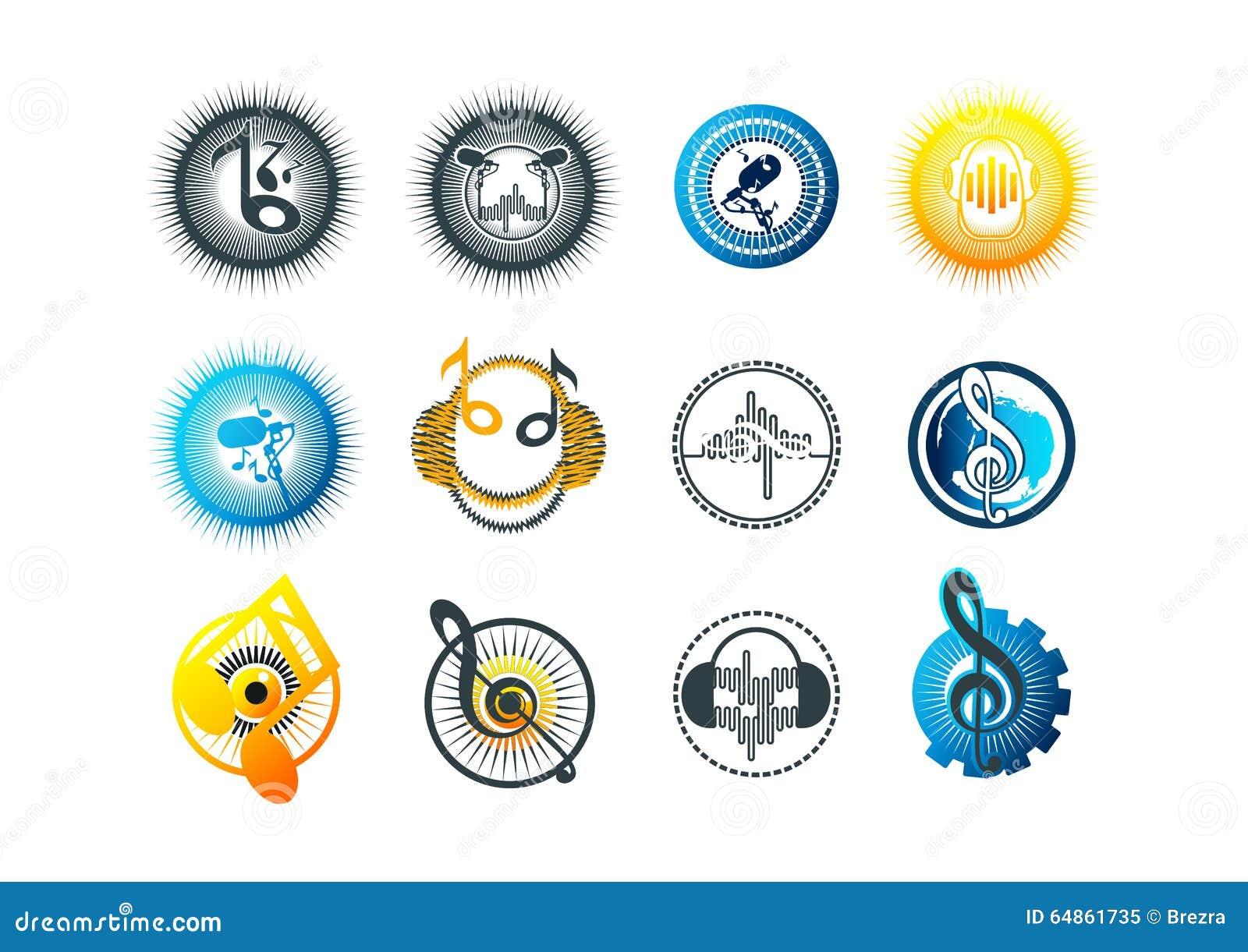 Muzyki, loga, karaoke, symbolu, rytmu, ikony i dźwięka pojęcia projekt,