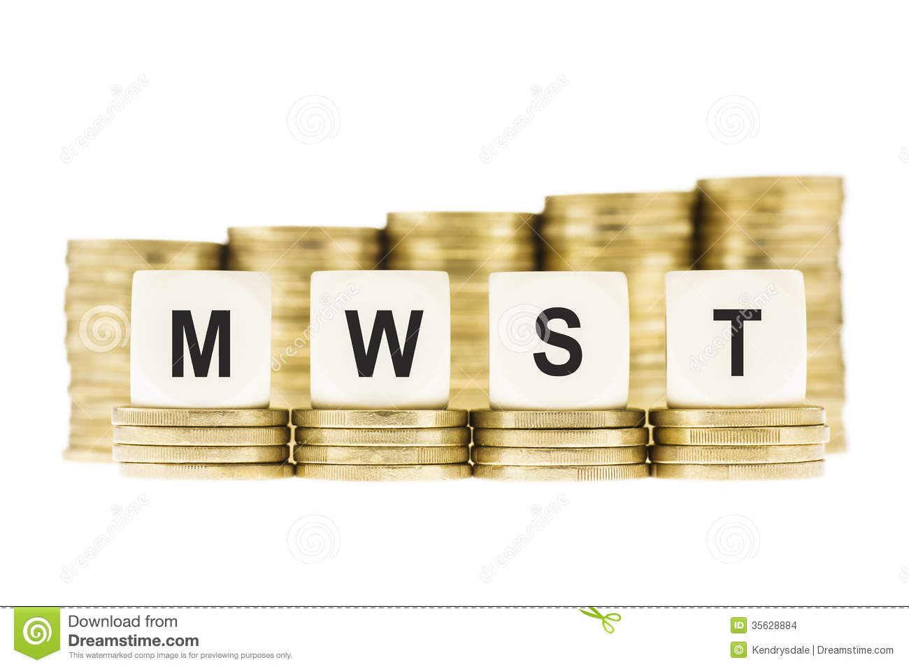 MWST (Value Added Tax) on Piles of Gold Coins with a White Background