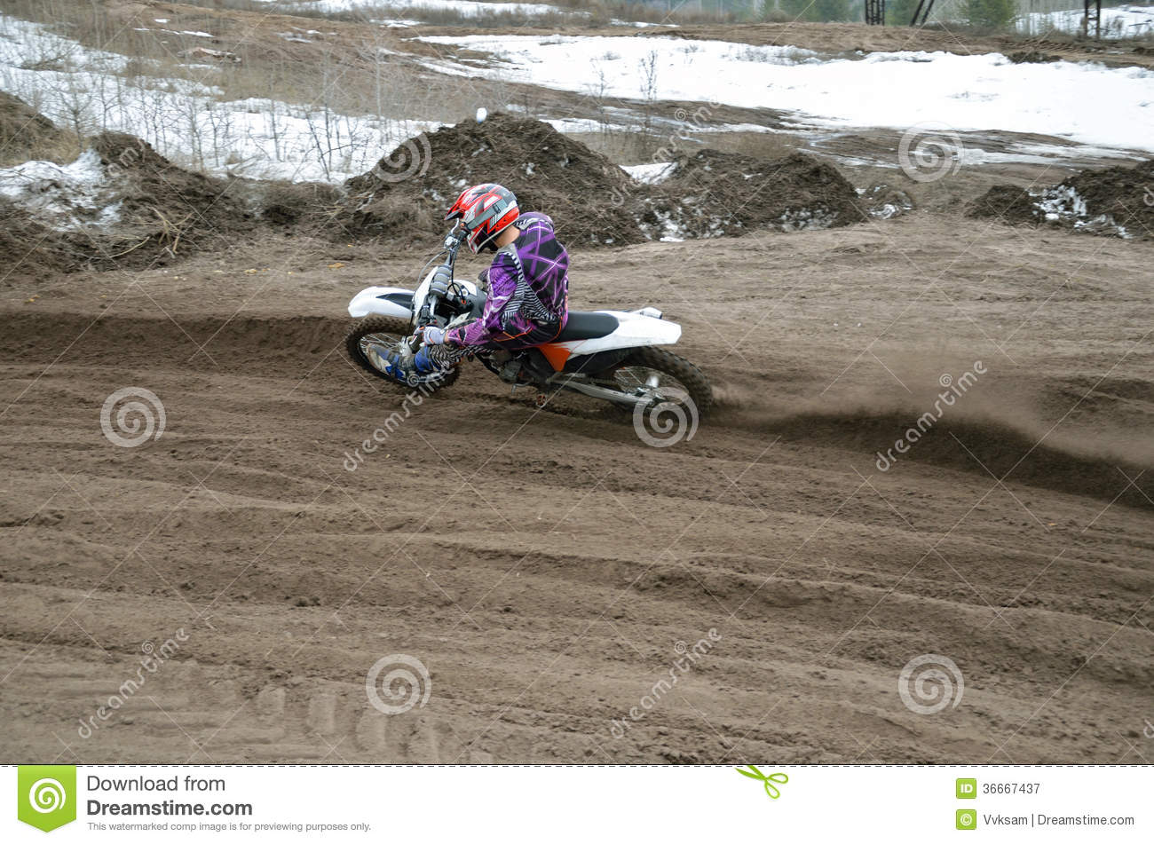 MX Rider Veering Point-blank Of Sand With Stock Image - Image of