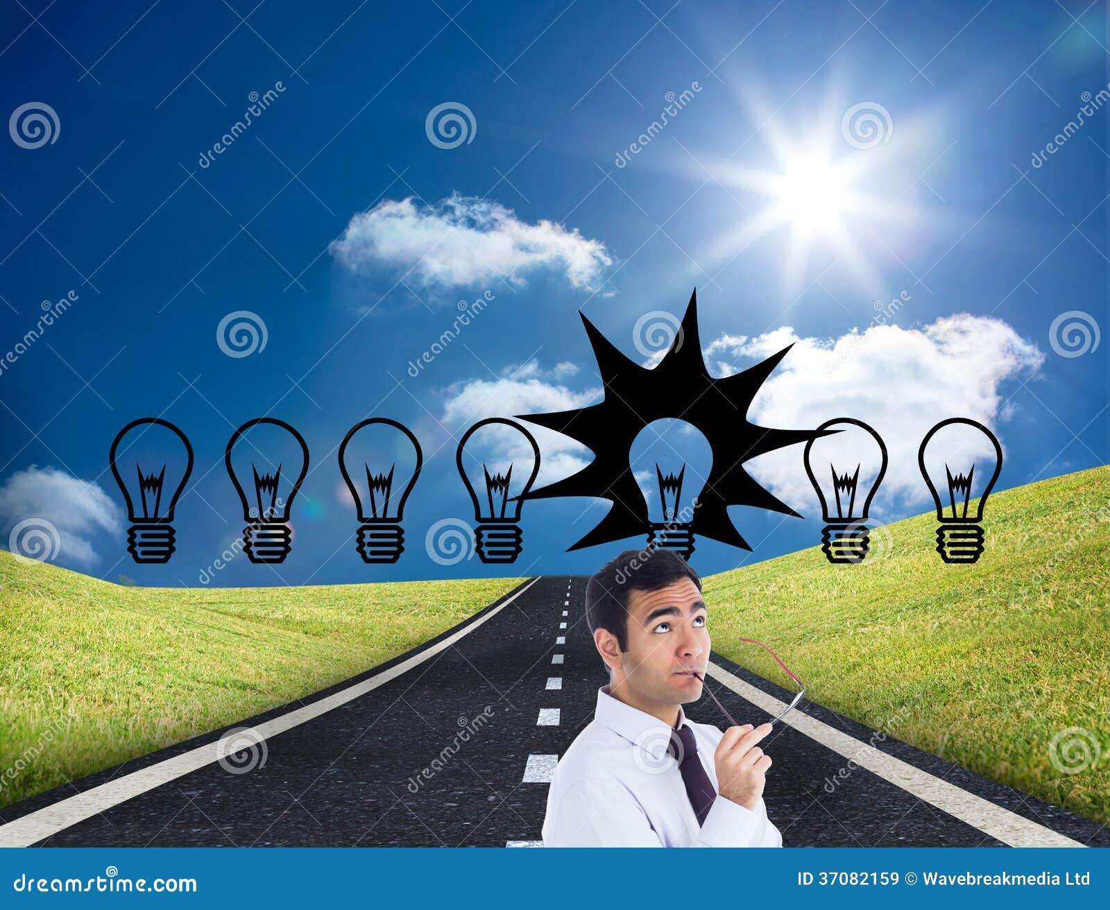 Download Myślący Biznesmen Trzyma Szkła Obraz Stock - Obraz złożonej z wytwarza, autostrada: 37082159