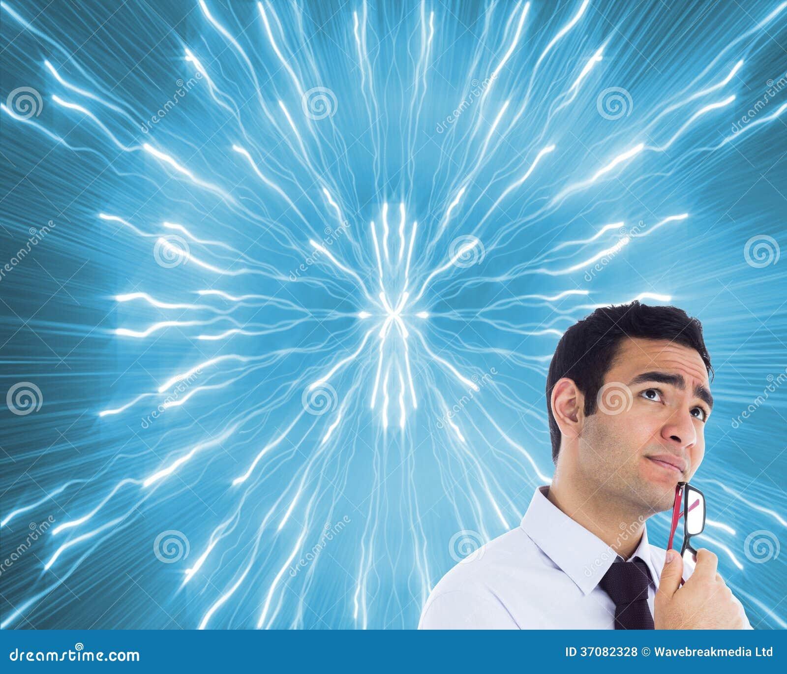 Download Myślący Biznesmen Trzyma Szkła Zdjęcie Stock - Obraz złożonej z okręgi, psychodeliczny: 37082328