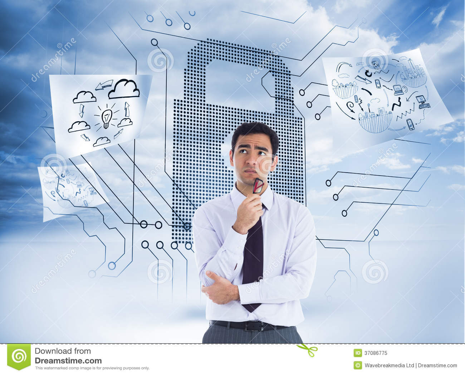 Download Myślący Biznesmen Trzyma Szkła Obraz Stock - Obraz złożonej z komputer, dane: 37086775