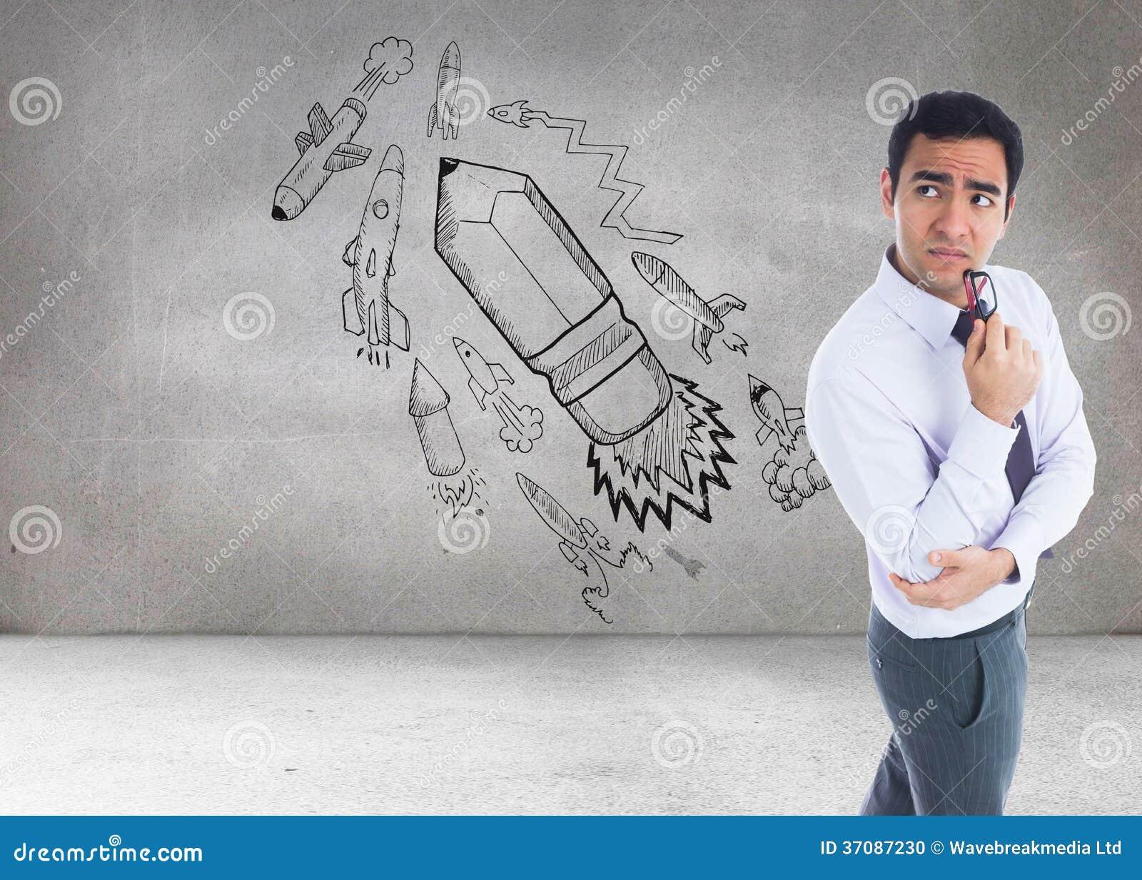 Download Myślący Biznesmen Trzyma Szkła Zdjęcie Stock - Obraz złożonej z osoba, grafika: 37087230