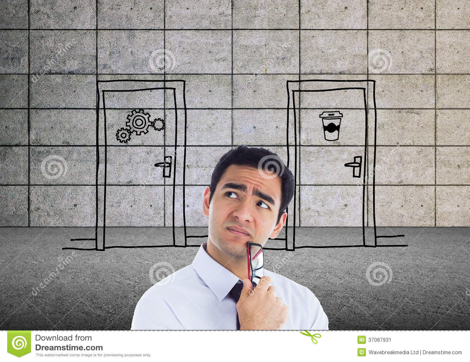 Download Myślący Biznesmen Trzyma Szkła Obraz Stock - Obraz złożonej z well, mężczyzna: 37087931