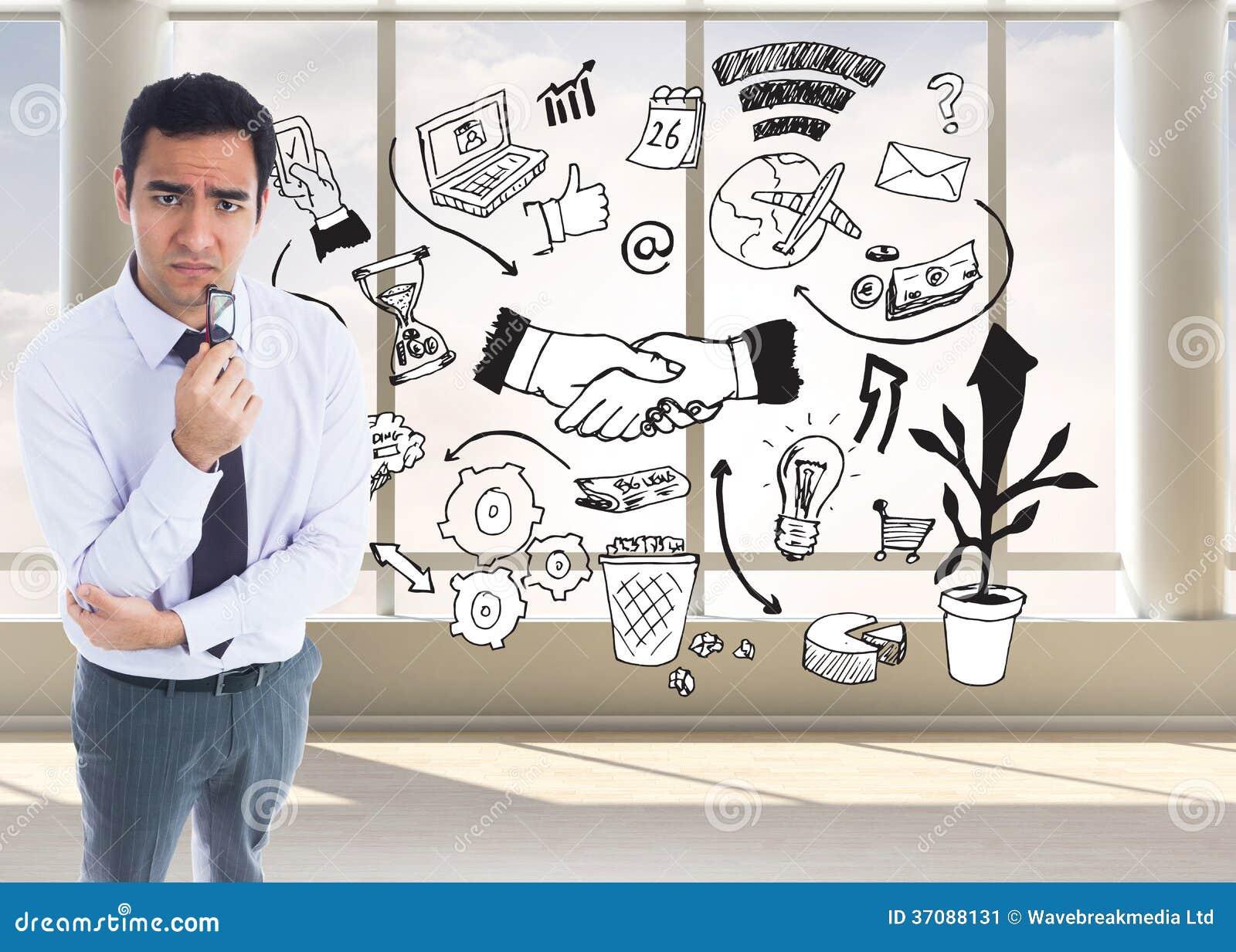 Download Myślący Biznesmen Trzyma Szkła Obraz Stock - Obraz złożonej z hairball, wytwarza: 37088131