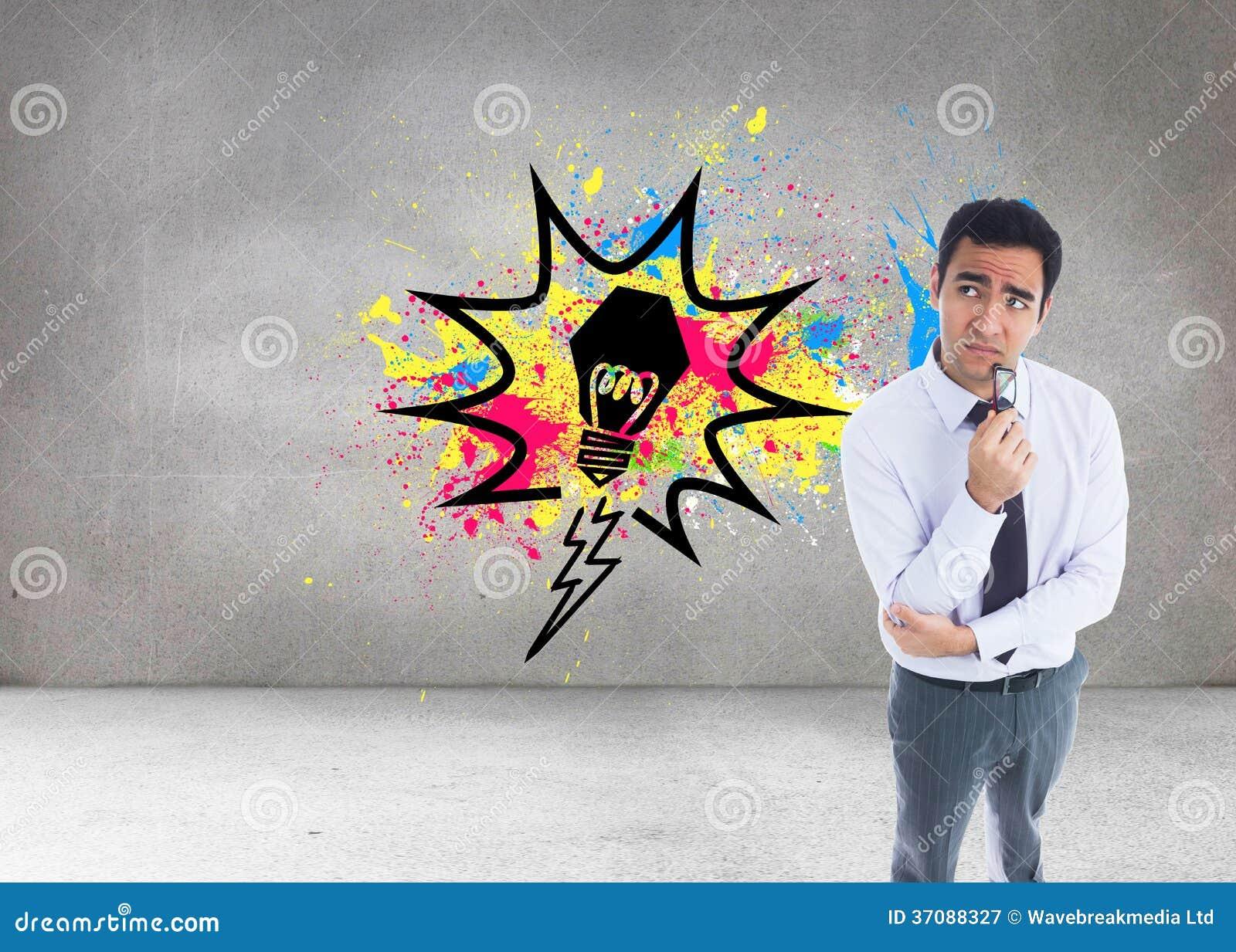 Download Myślący Biznesmen Trzyma Szkła Obraz Stock - Obraz złożonej z biznes, pokój: 37088327