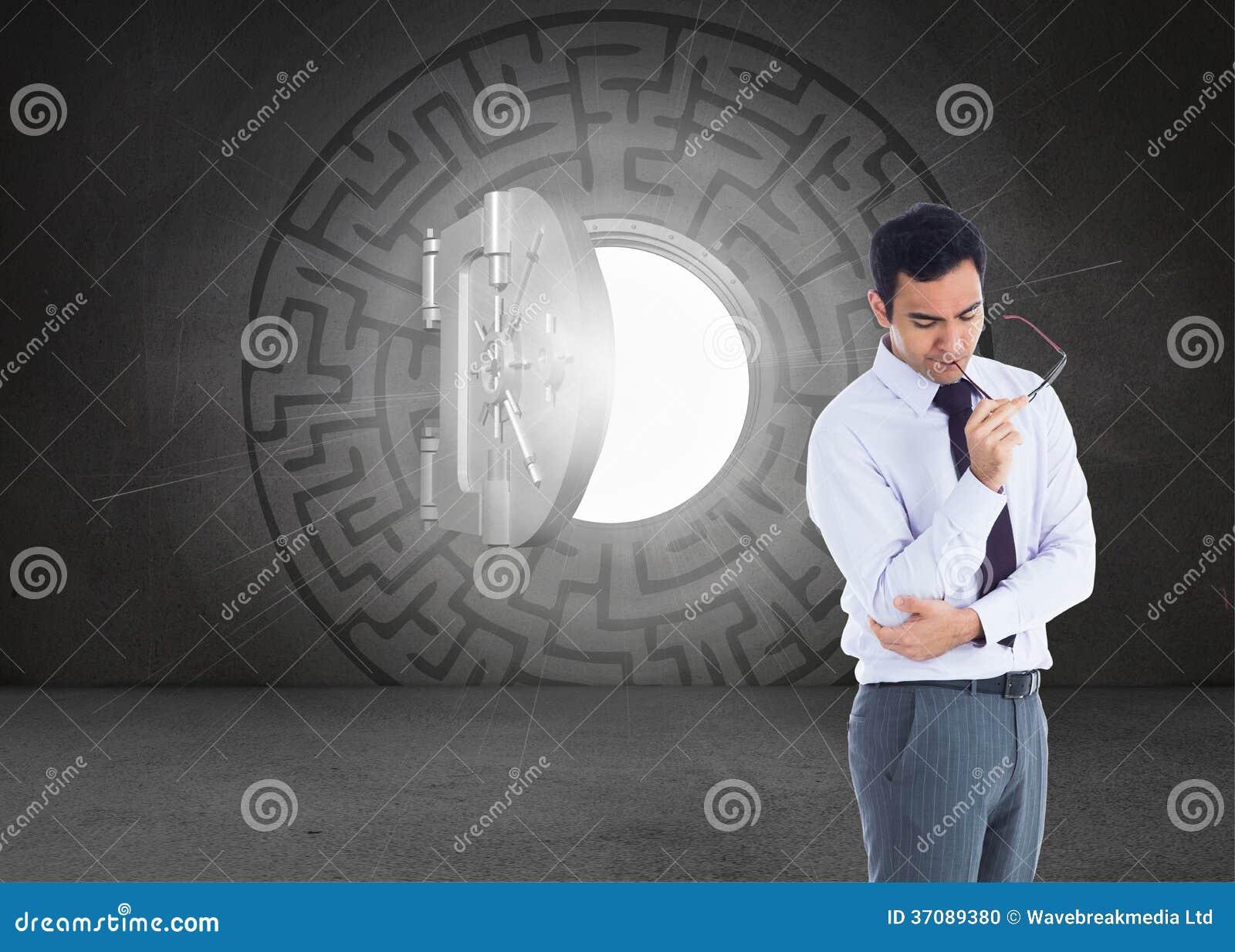 Download Myślący Biznesmen Trzyma Szkła Zdjęcie Stock - Obraz złożonej z ubierający, well: 37089380