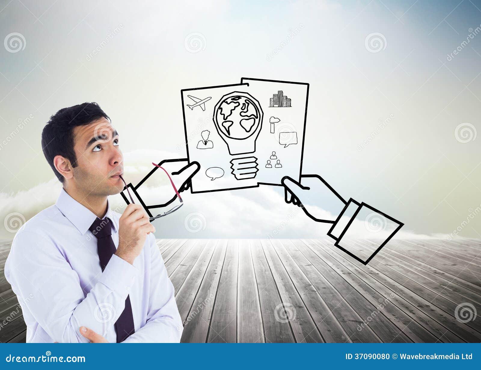 Download Myślący Biznesmen Trzyma Szkła Zdjęcie Stock - Obraz złożonej z globalny, drewno: 37090080