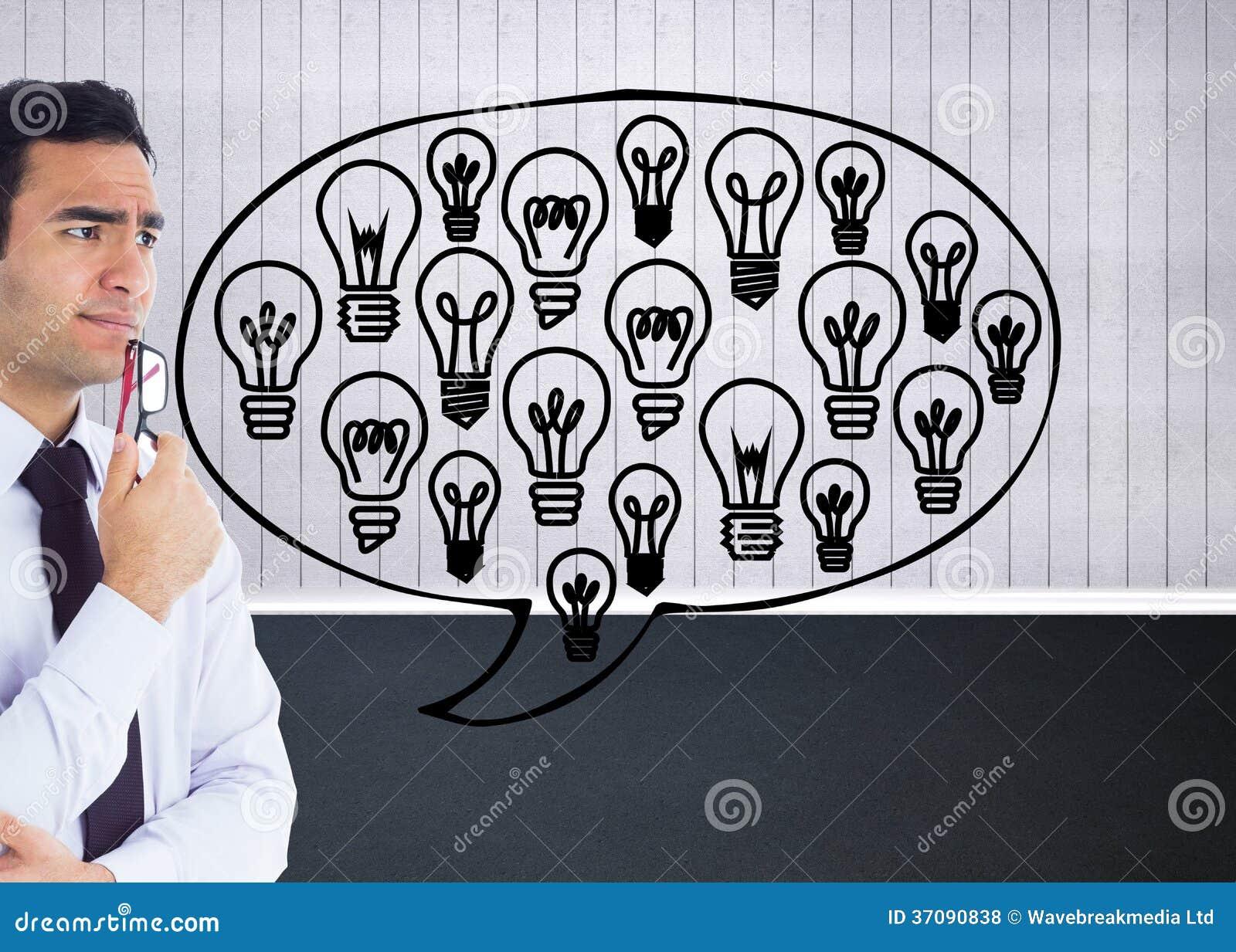 Download Myślący Biznesmen Trzyma Szkła Zdjęcie Stock - Obraz złożonej z brąz, strona: 37090838