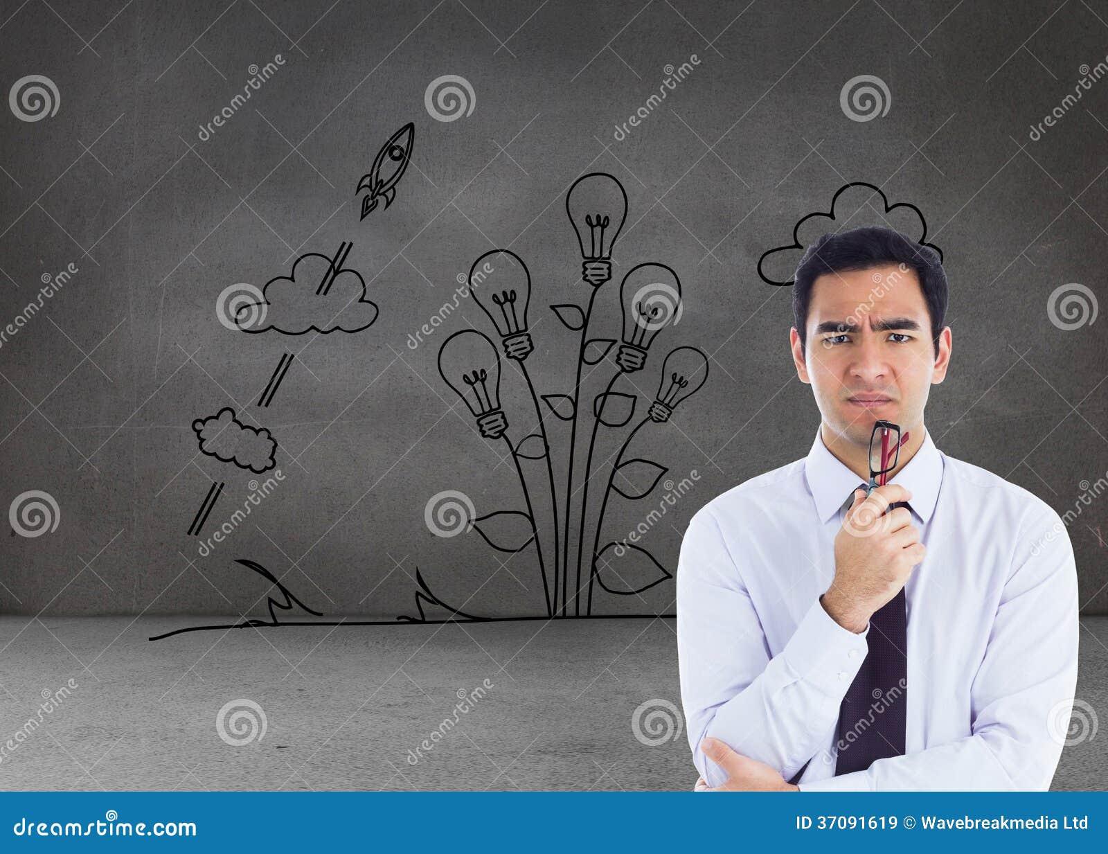 Download Myślący Biznesmen Trzyma Szkła Obraz Stock - Obraz złożonej z innowacja, brąz: 37091619
