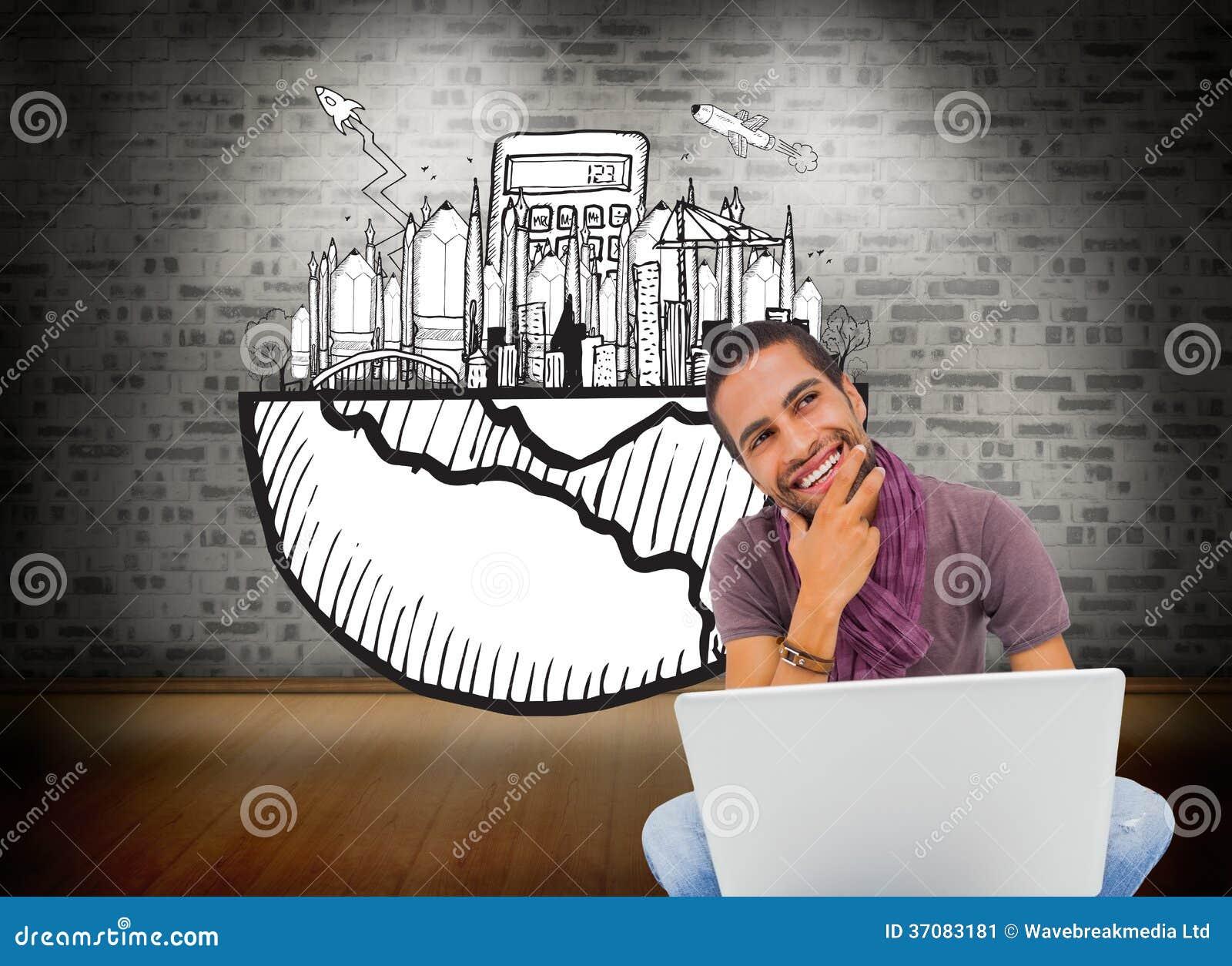 Download Myślący Mężczyzna Obsiadanie Na Podłogowym Używa Laptopie I Ono Uśmiecha Się Ilustracji - Ilustracja złożonej z brickwork, komputer: 37083181