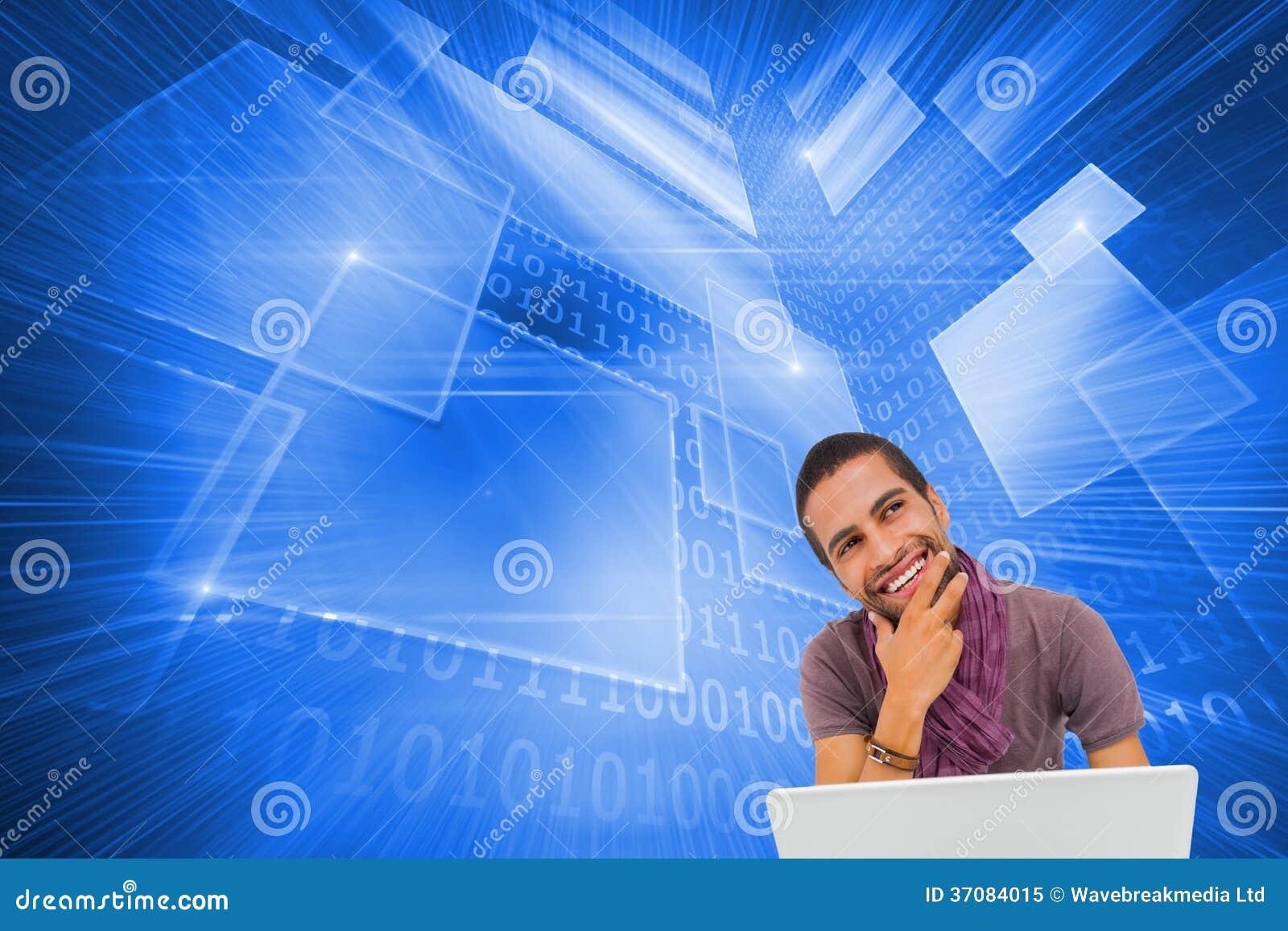 Download Myślący Mężczyzna Obsiadanie Na Podłogowym Używa Laptopie I Ono Uśmiecha Się Ilustracji - Ilustracja złożonej z biały, światło: 37084015