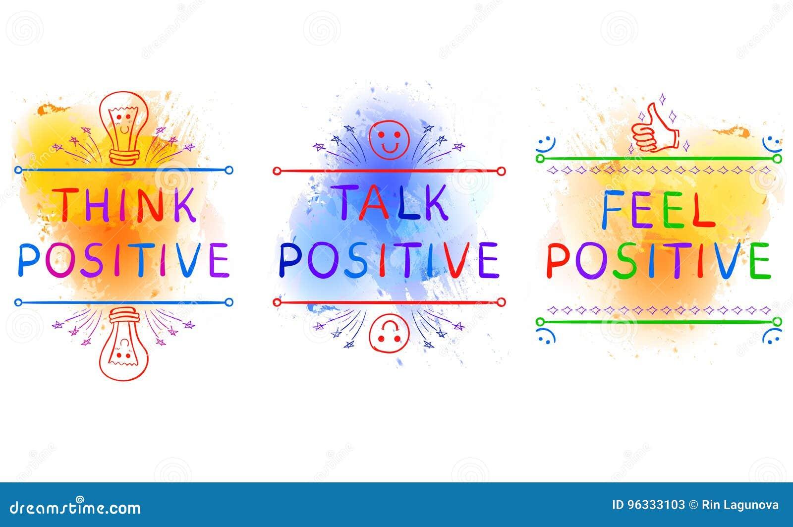 MYŚL pozytyw, rozmowa pozytyw, odczucie pozytyw Inspiracyjni zwroty na farby pluśnięcia tle Doodle winiety Yelolow