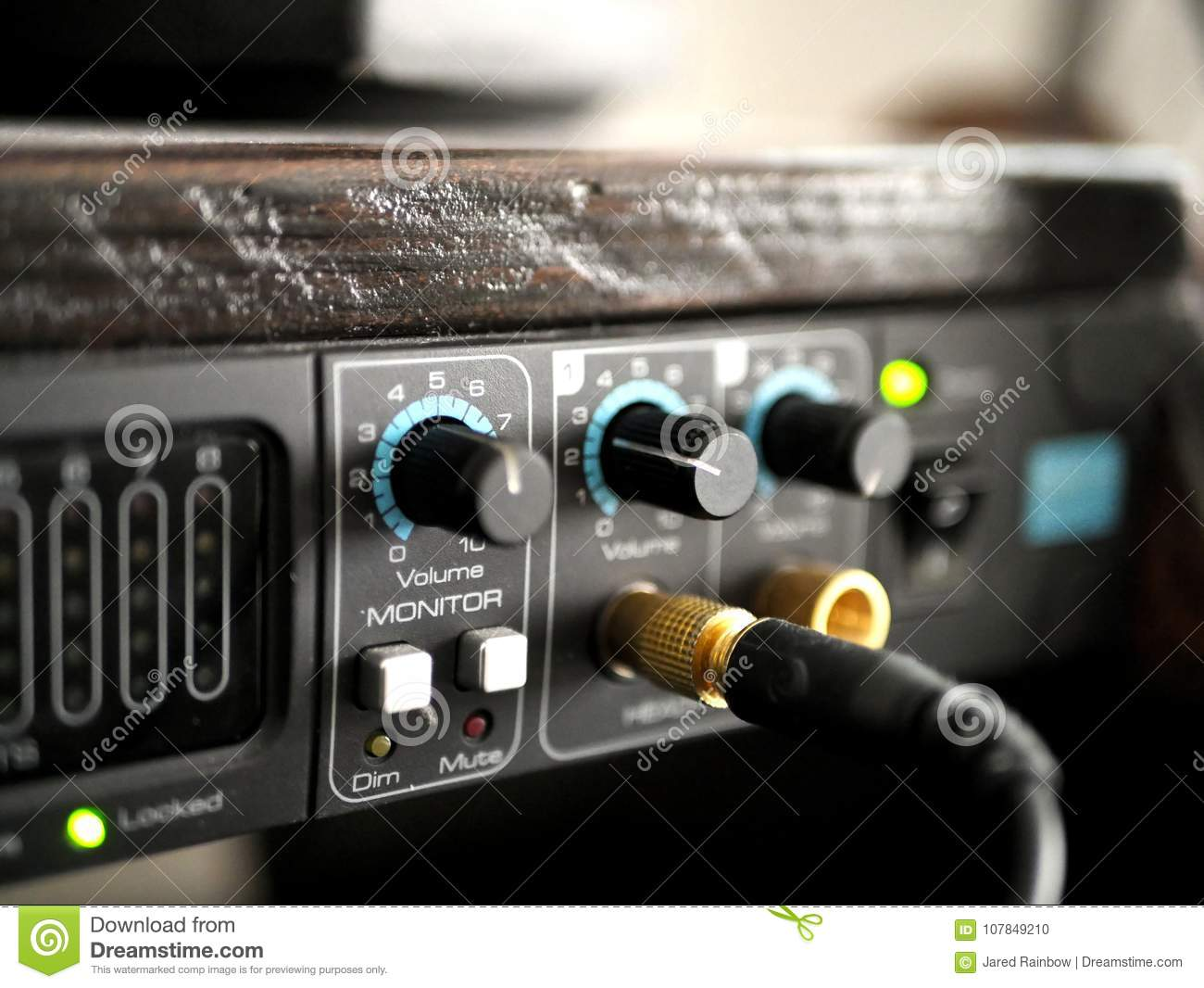 audio interface in music recording studio stock photo image of interface music 107849210. Black Bedroom Furniture Sets. Home Design Ideas