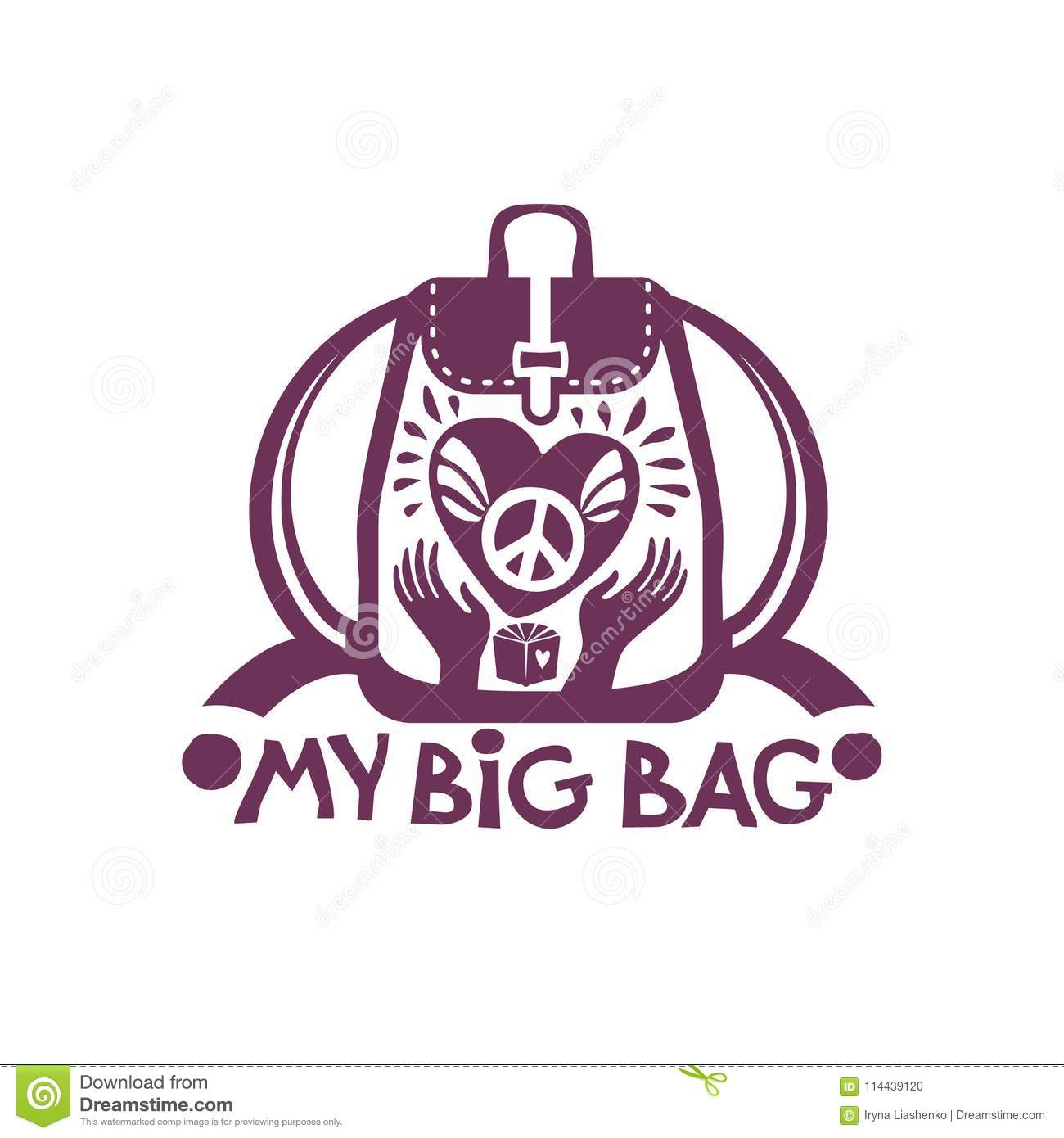 My Big Bag Backpack With A Big Heart And A Symbol Of Peace In Your