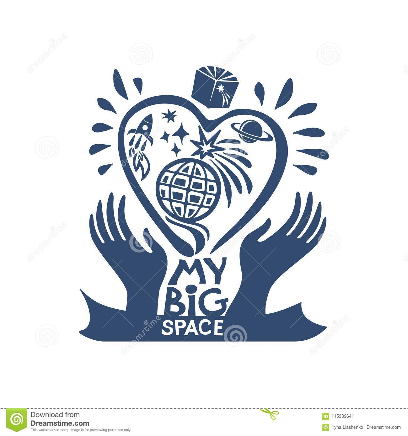 My Big Space Universe I Love Cosmos Flat Graphic Symbol Of The