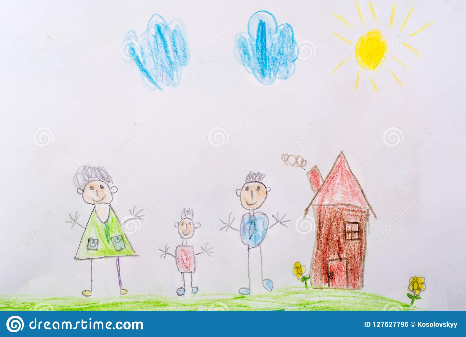 My Childhood Drawing Is My Happy Family The Concept Of Child Psychology Stock Photo Image Of Child Paper 127627796