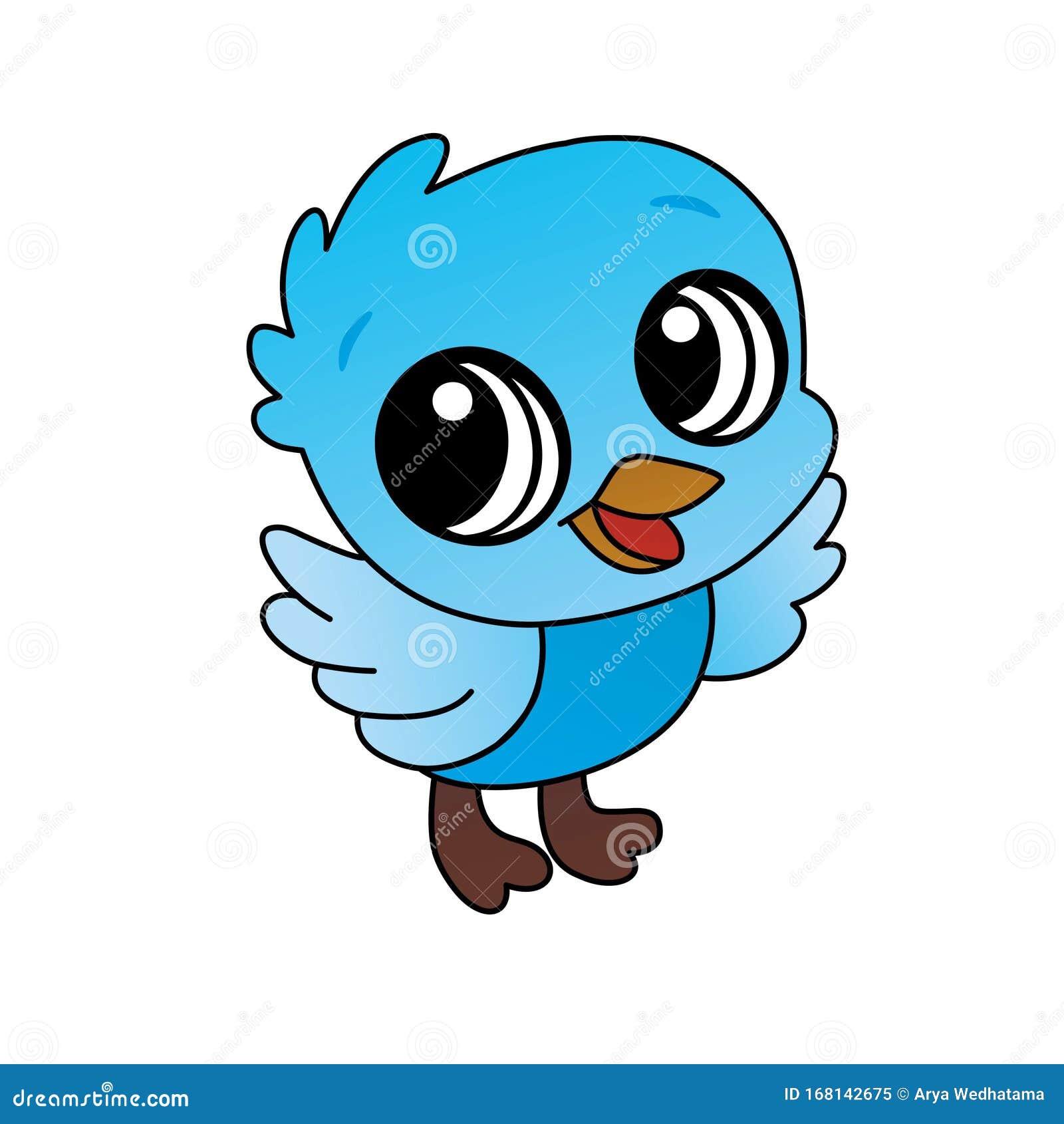 Illustration Of Blue Baby Bird Cartoon Cute Funny Character Flat Design Stock Image Illustration Of Cartoon Collection 168142675