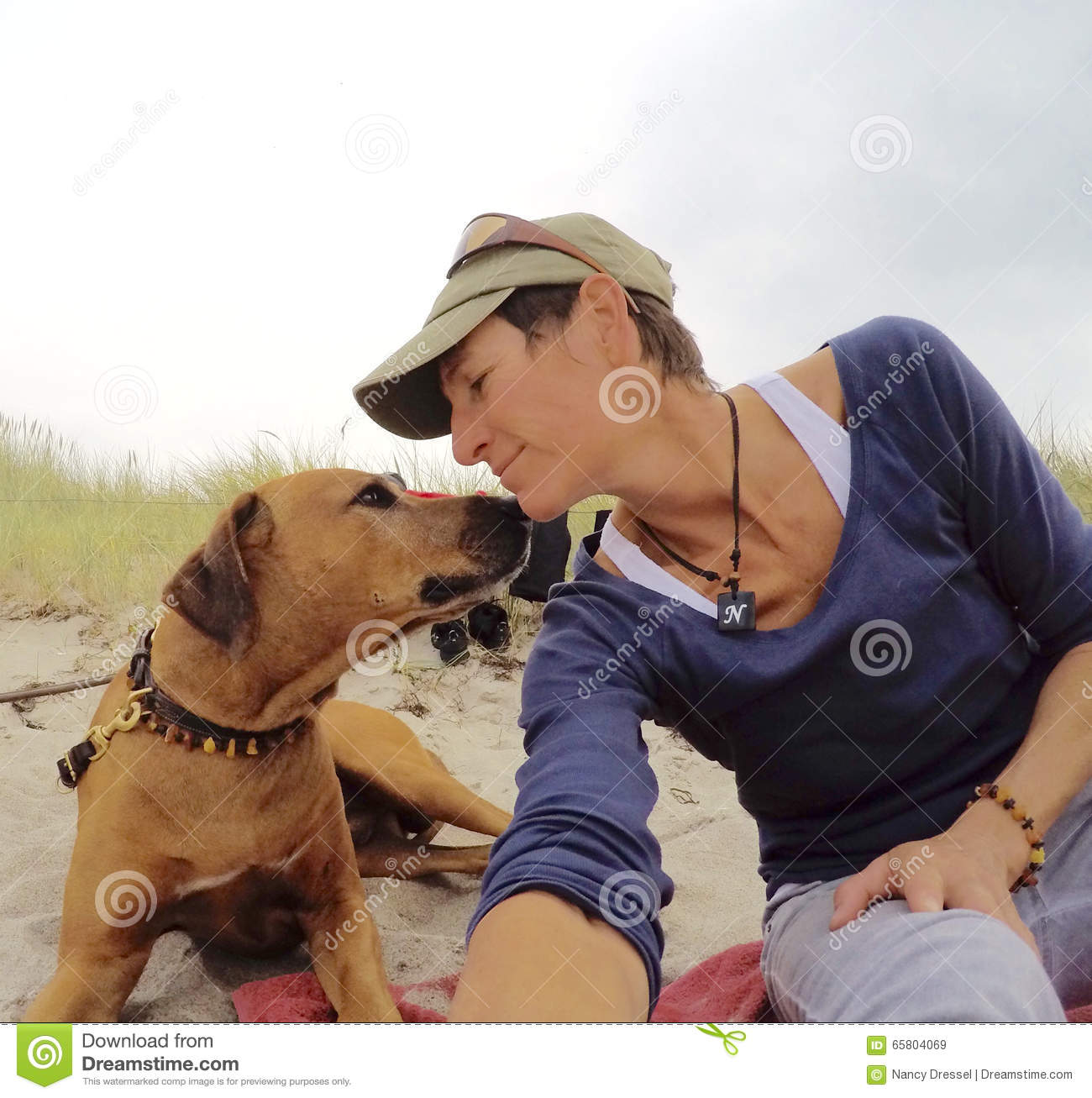 My dog and me on the beach