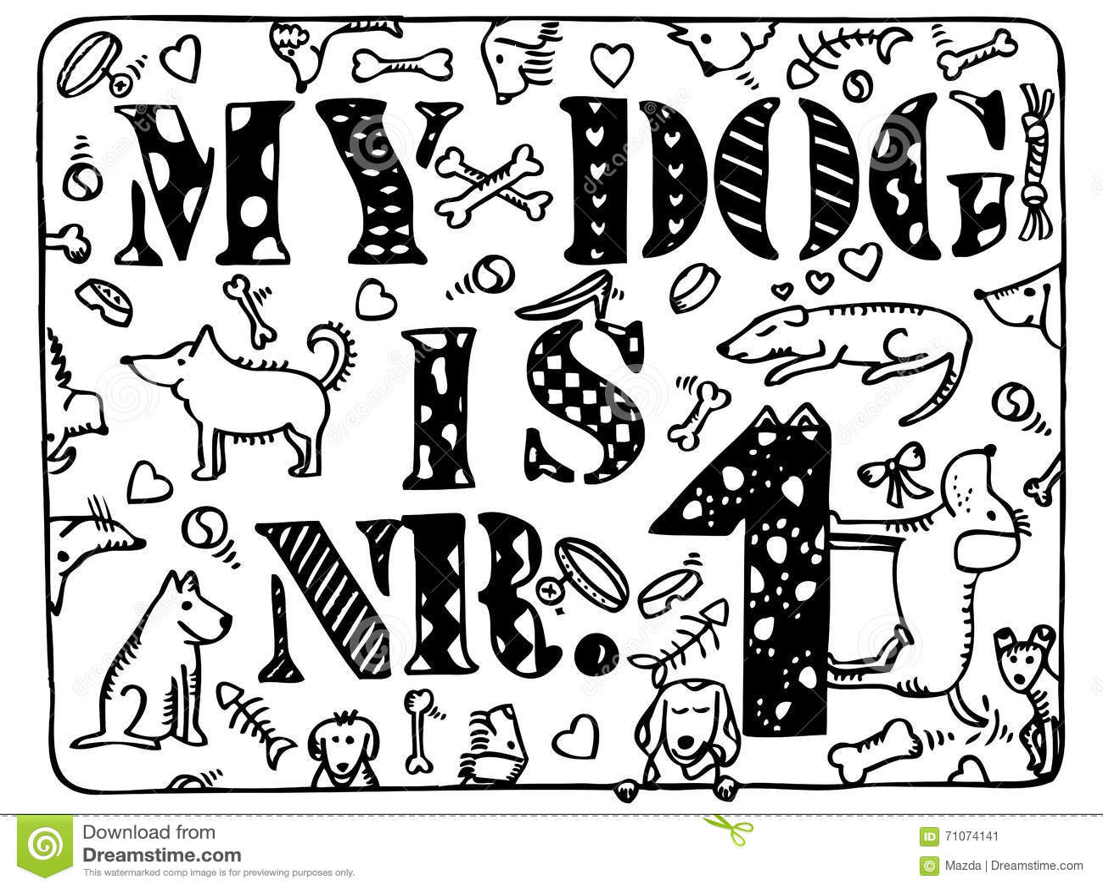 I Love My Dog Cartoon Bone Vector Illustration