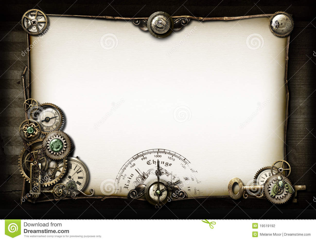 steampunk clock stock image image of numerals compass 19854871