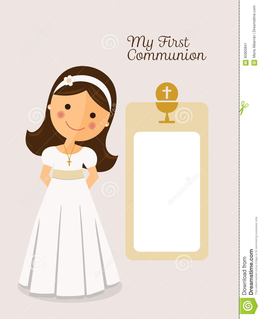 My First Communion Invitation Communion With Message Stock ...