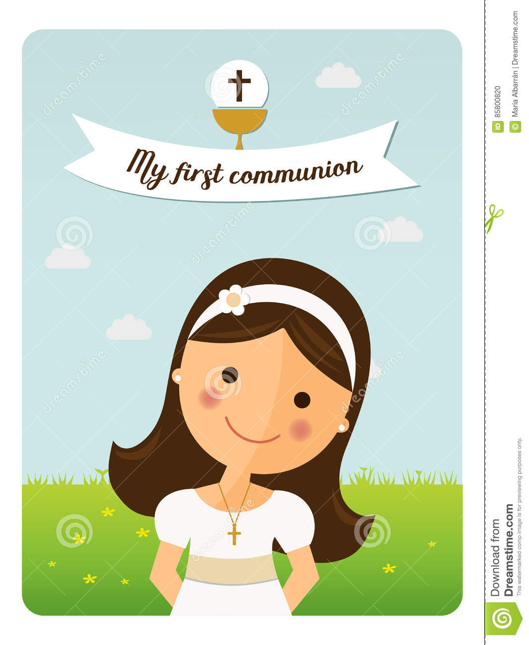 My first communion reminder with foreground girl