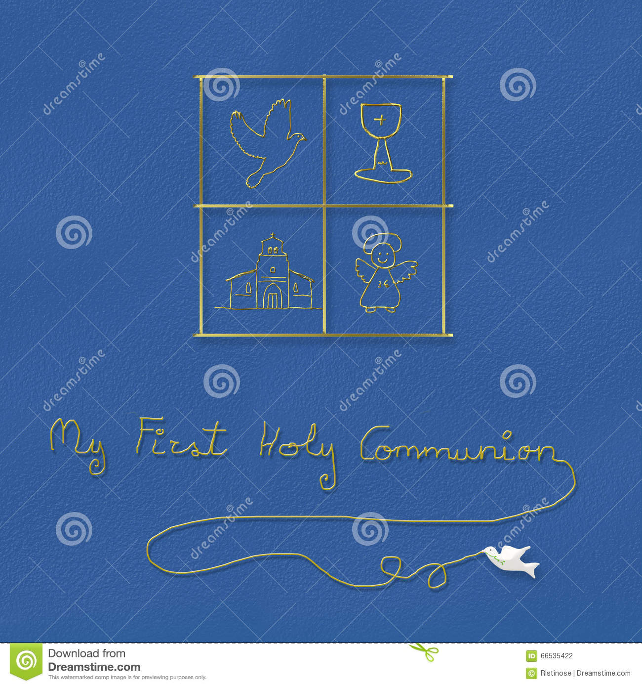 My First Holy Communion Blue Background Stock Illustration