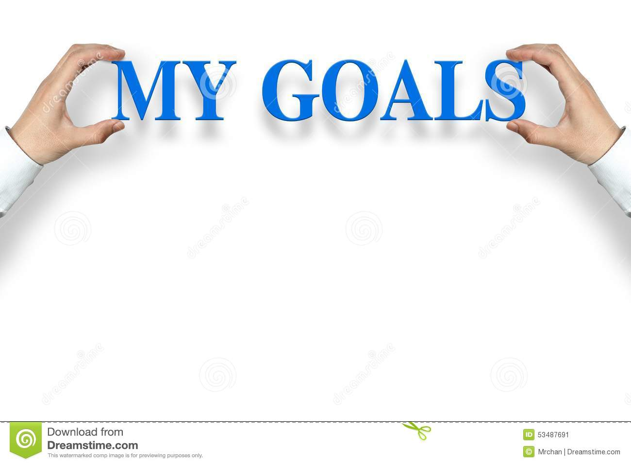 Businessman is holding the My Goals text against the white background ...