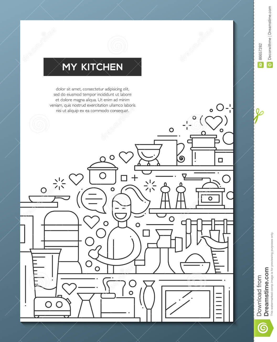 Kitchen Design Layout Template: Line Design Brochure Poster Template A4 Stock