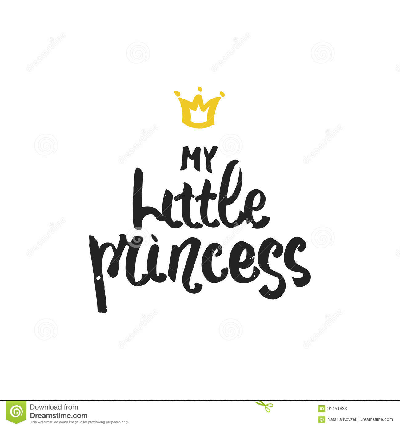 My Little Princess Hand Drawn Brush Lettering For Print Card
