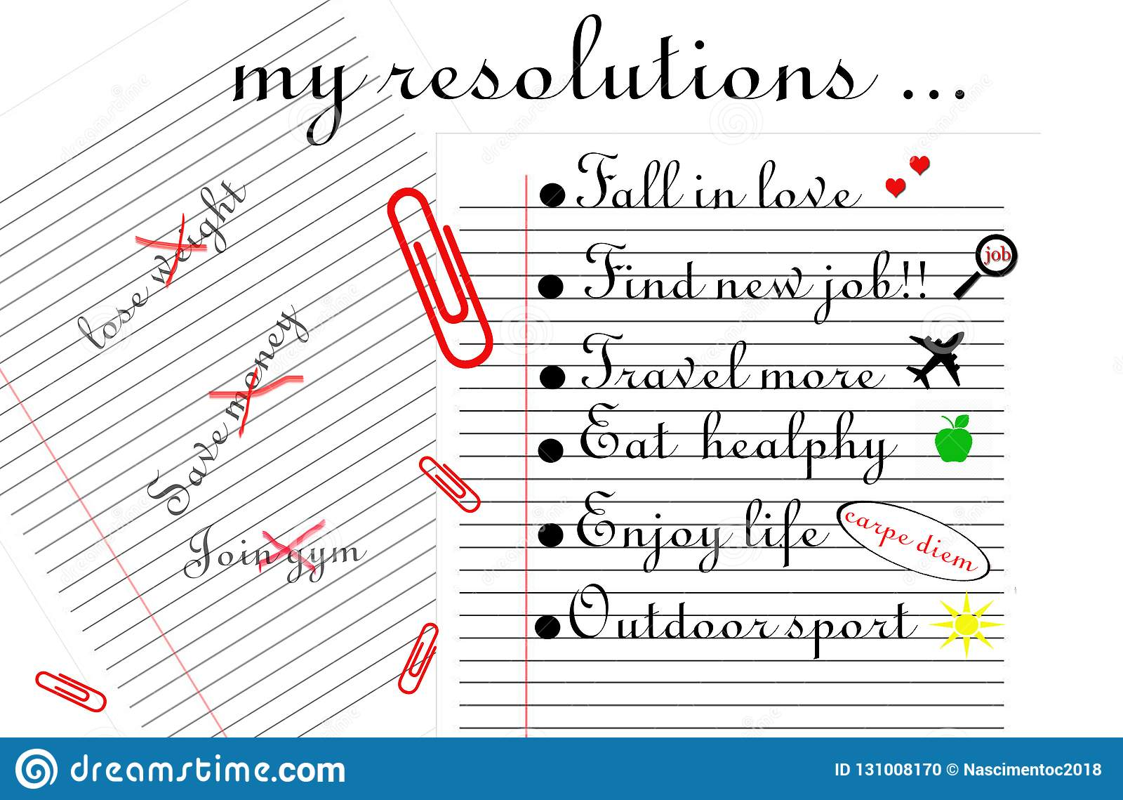 `My resolutions` illustration.Two lined sheets, one with three resolutions with a cross in red and other with six final resolution