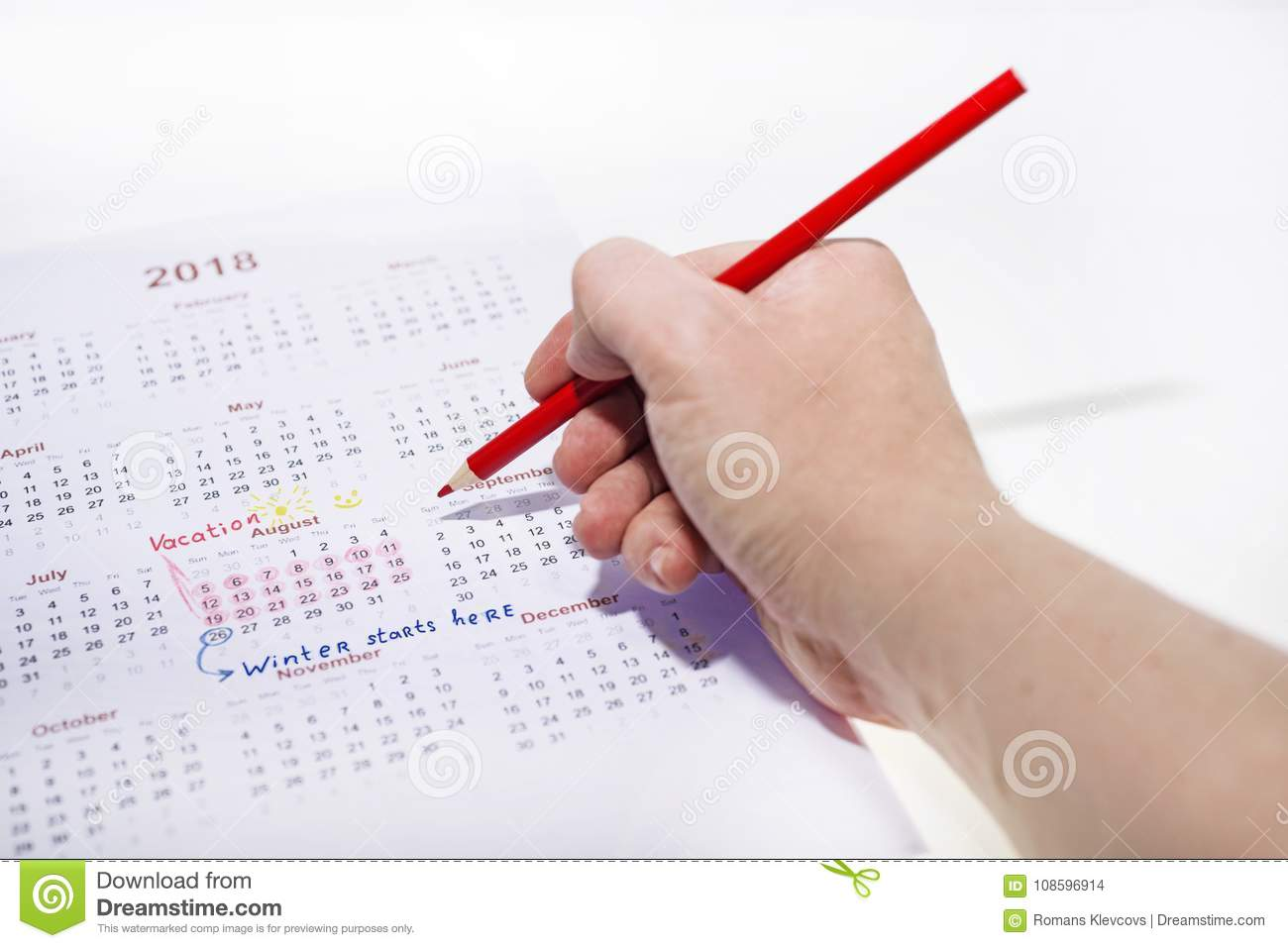 My Vacation Calendar Of Year 2018. Stock Photo - Image of ...