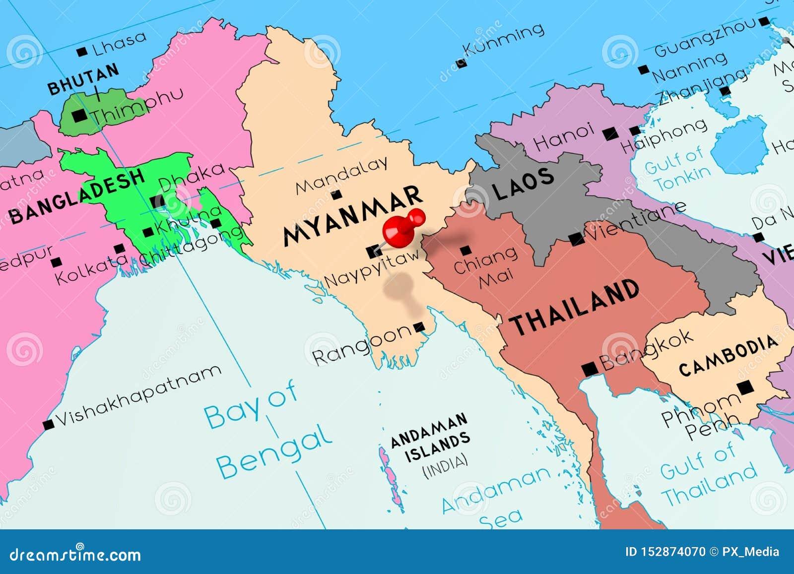 Nouveau Myanmar Birmanie, Naypyitaw - Capitale, Goupillée Sur La Carte AG-36