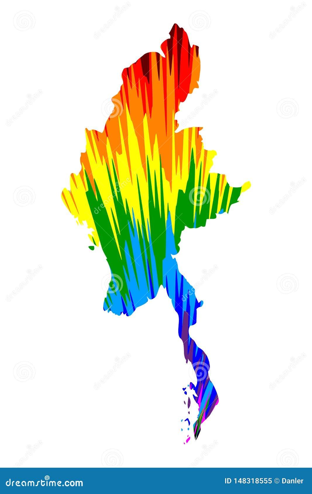 Myanmar - el mapa es el modelo colorido diseñado del extracto del arco iris, república de la unión del mapa de Myanmar Birmania h