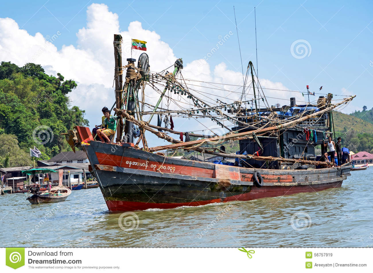 Myanmar fishing boat in thai sea near ranong fish market for Commercial deep sea fishing boats for sale