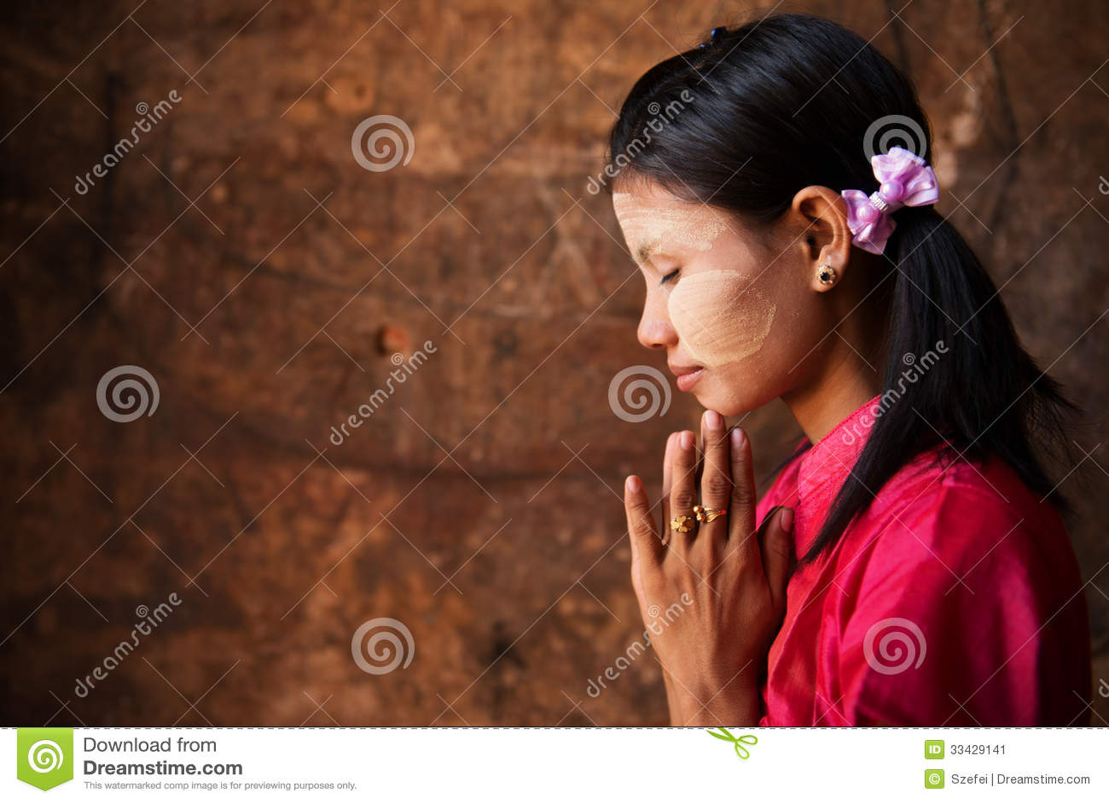 Myanmar Girl In A Praying Pose Stock Image - Image 33429141-7100