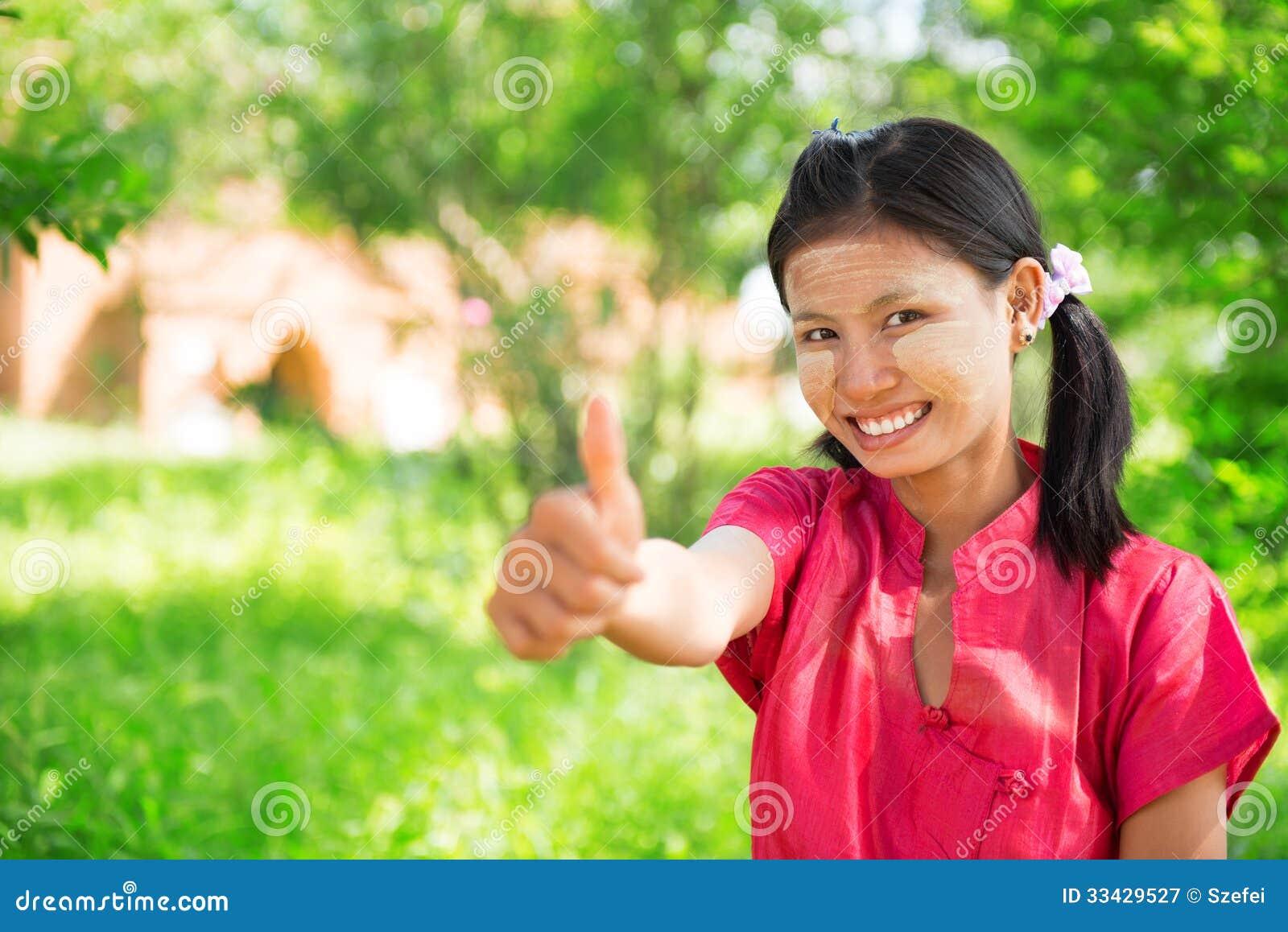 Myanmar Girl Thumb Up Royalty Free Stock Photography -3169