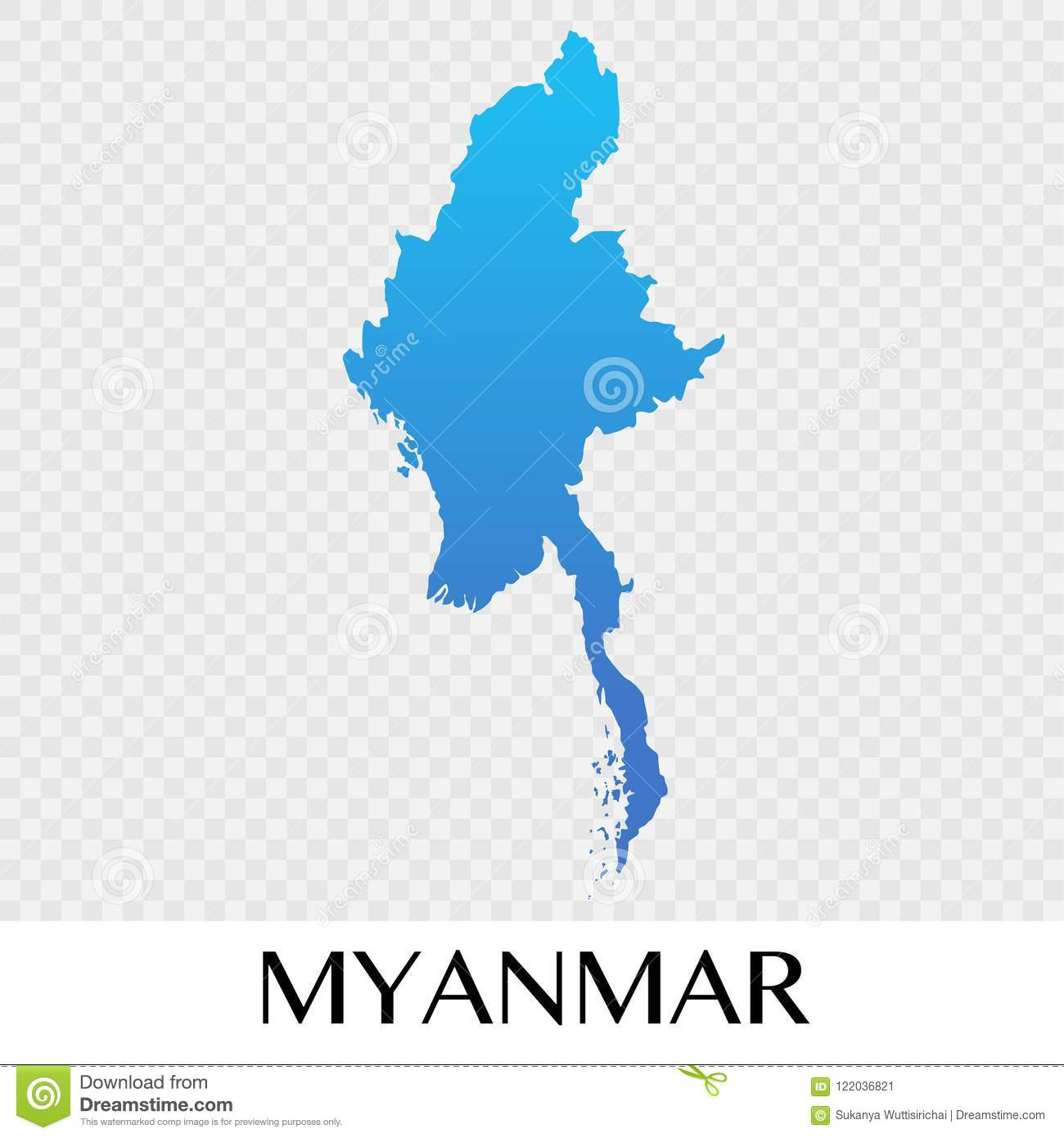 Myanmar On Map Of Asia.Myanmar Map In Asia Continent Illustration Design Stock Vector