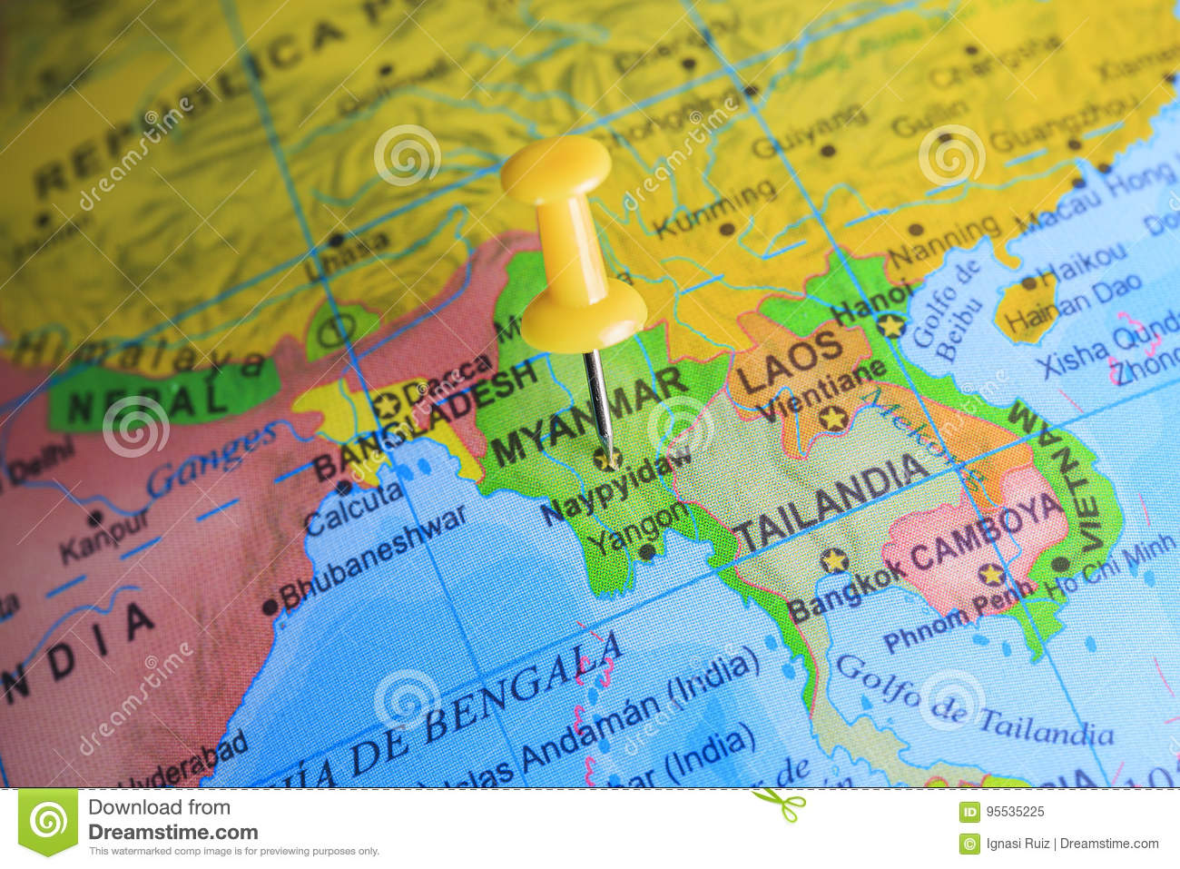 Myanmar On Map Of Asia.Myanmar Pinned On A Map Of Asia Stock Image Image Of France