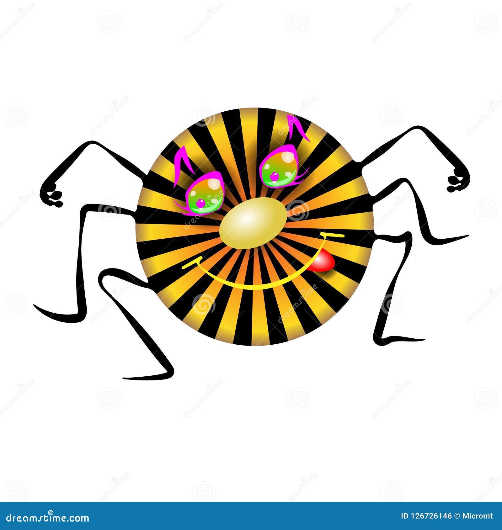 Mycket liten solig spindel Barnslig illustration för barnkammarerim i roligt